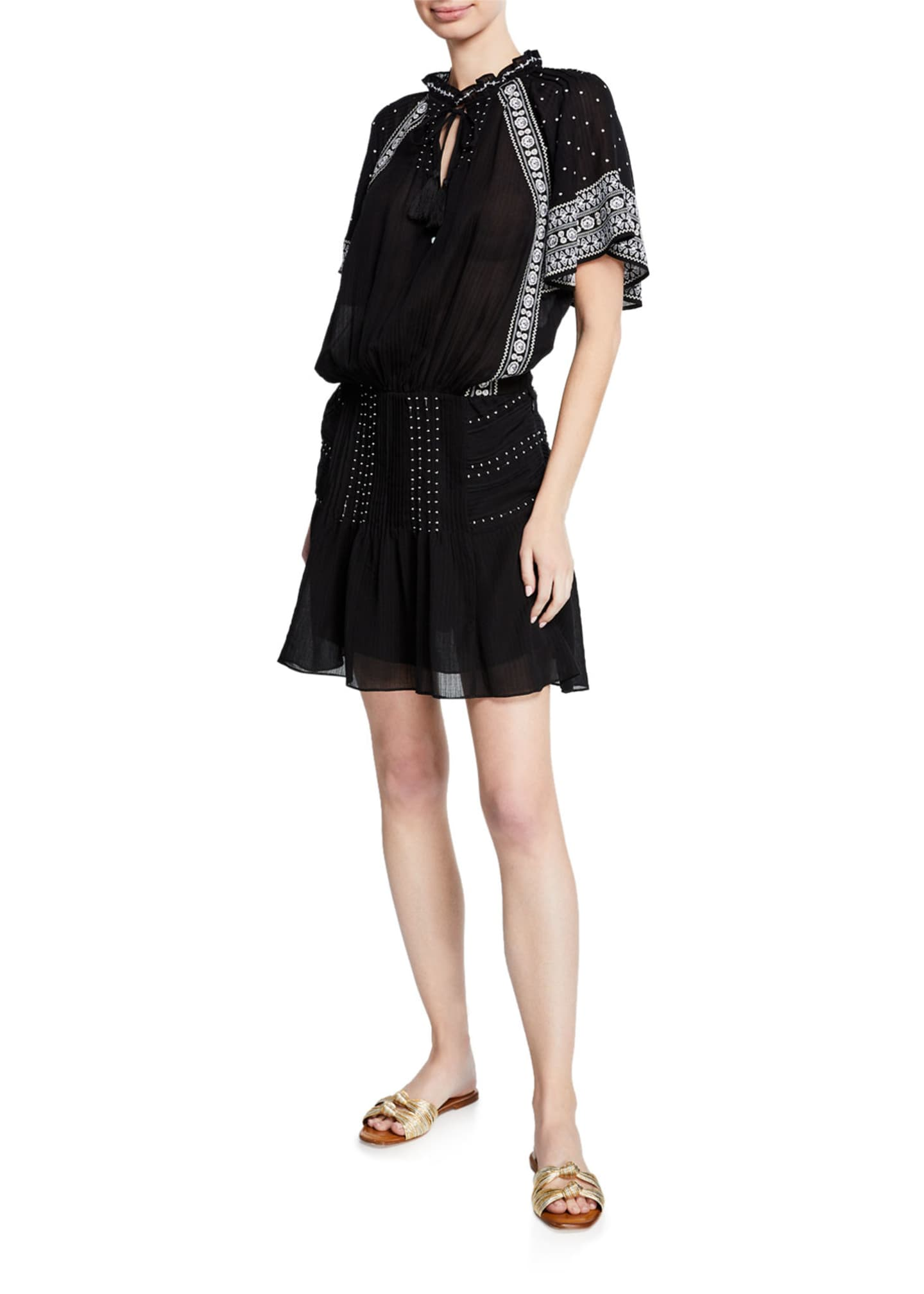 Image 3 of 3: Minos Embroidered Flutter-Sleeve Short Dress