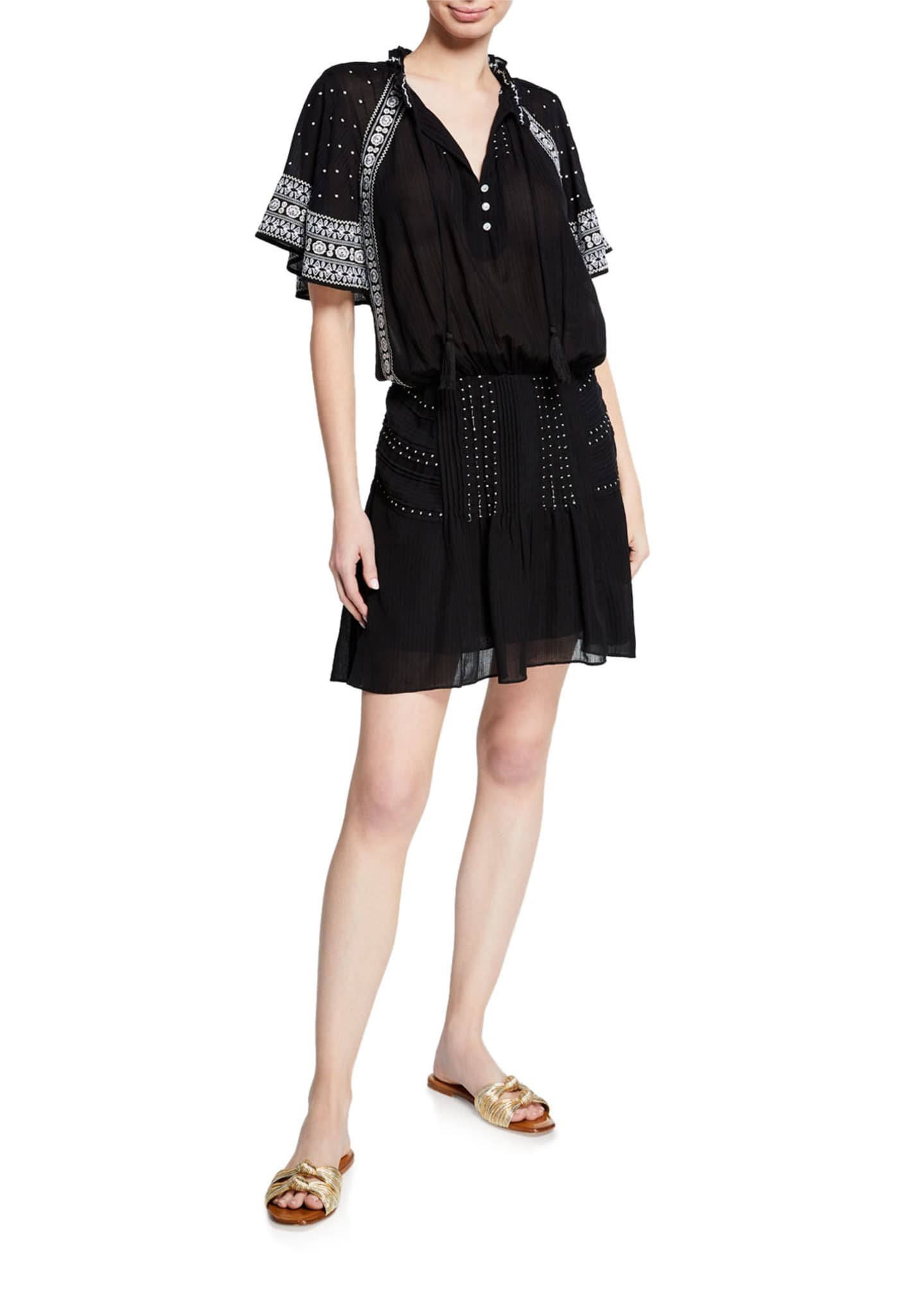 Image 1 of 3: Minos Embroidered Flutter-Sleeve Short Dress