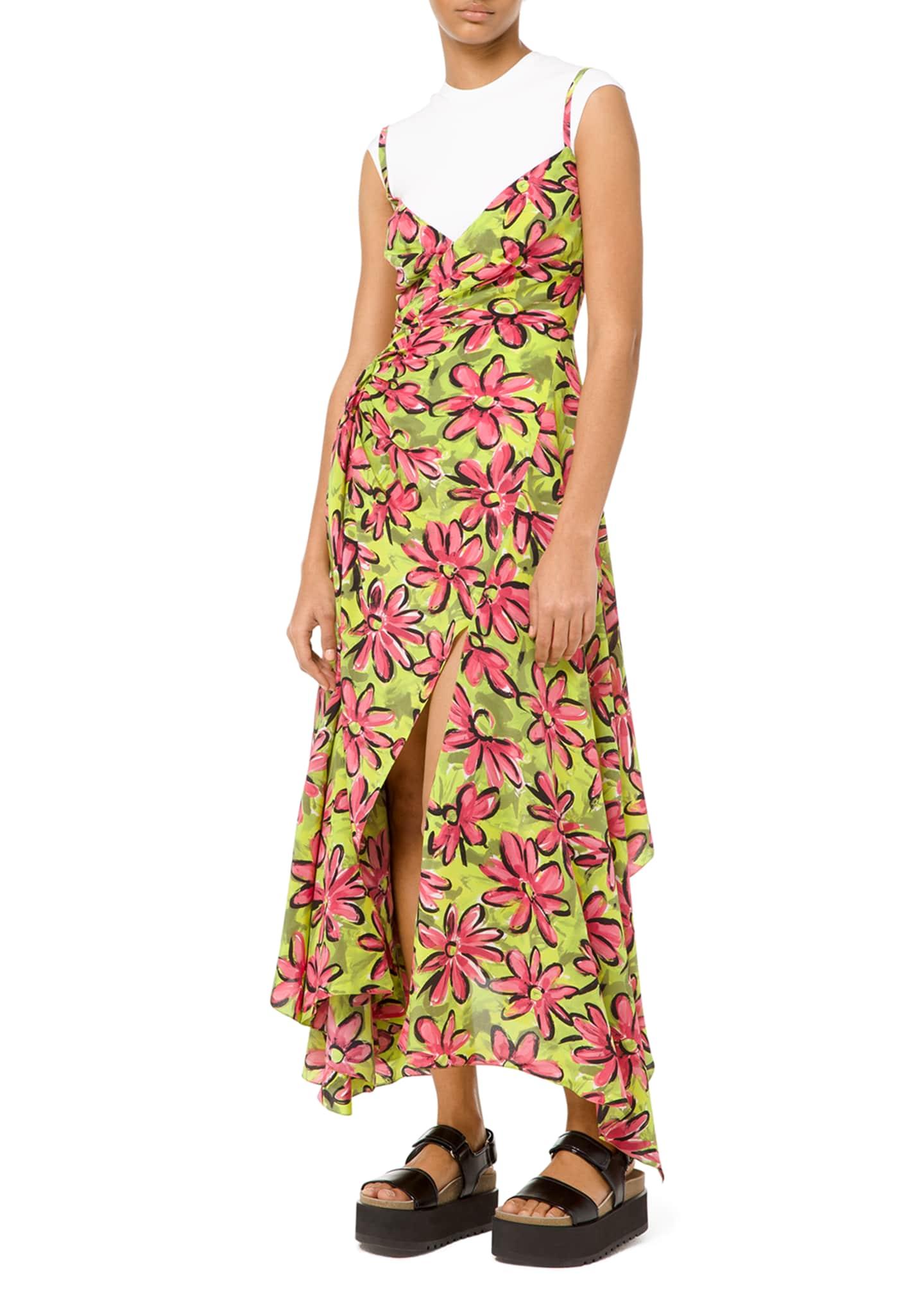 Michael Kors Collection Floral Silk Asymmetric Wrap Dress