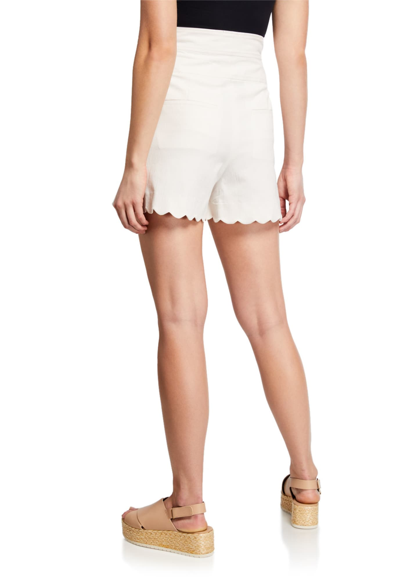 Image 2 of 3: High-Waist Scalloped Shorts