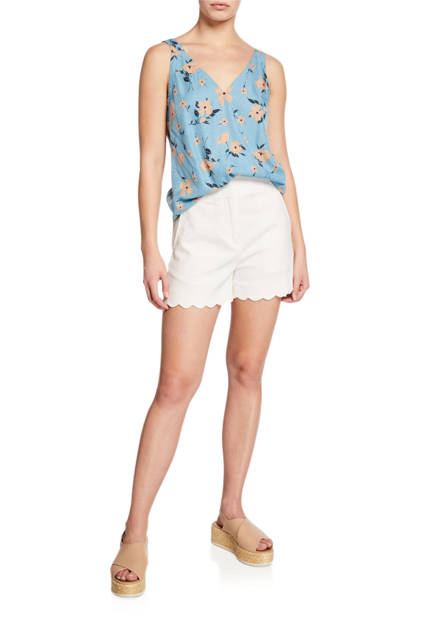 Image 3 of 3: High-Waist Scalloped Shorts
