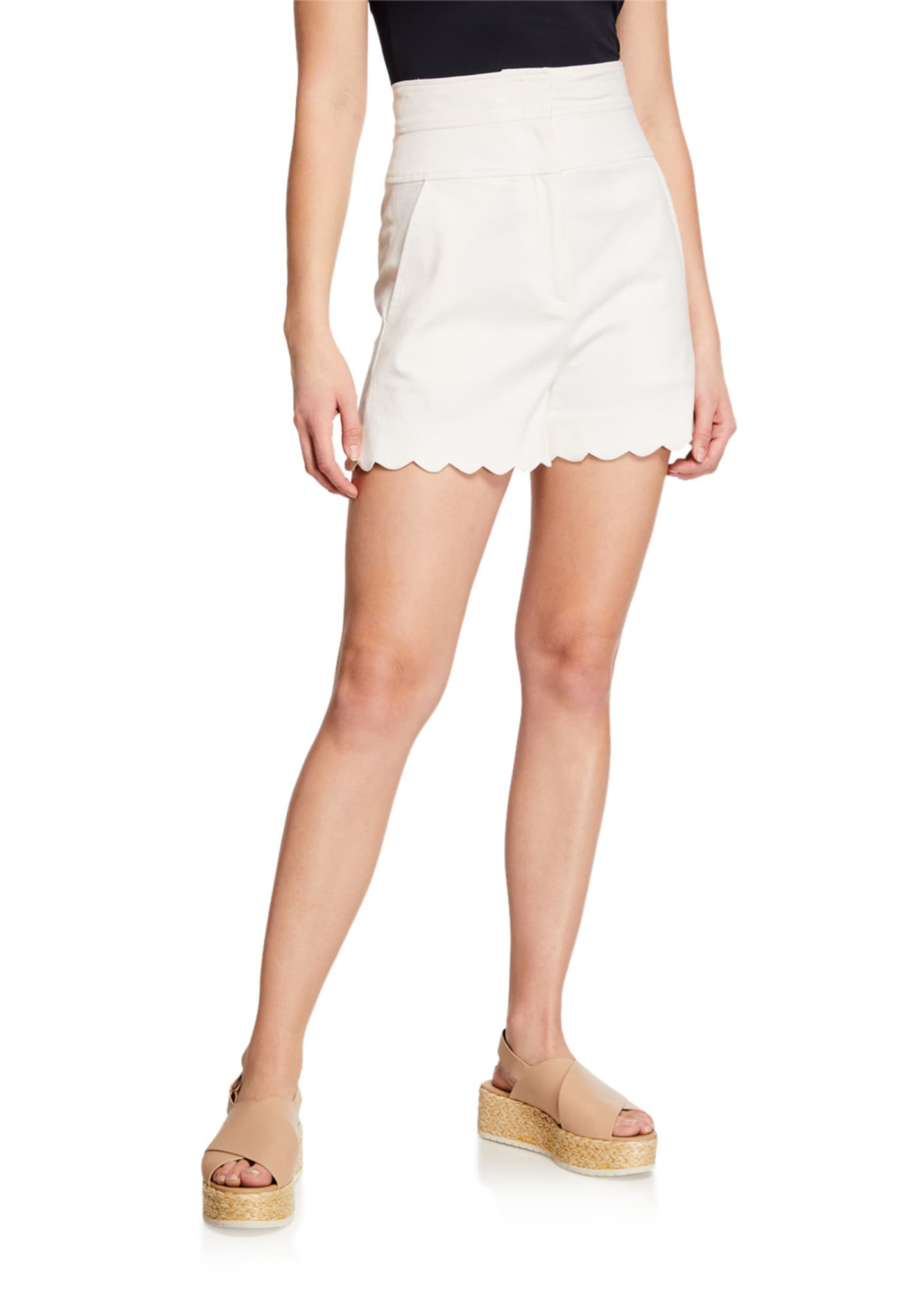 Image 1 of 3: High-Waist Scalloped Shorts