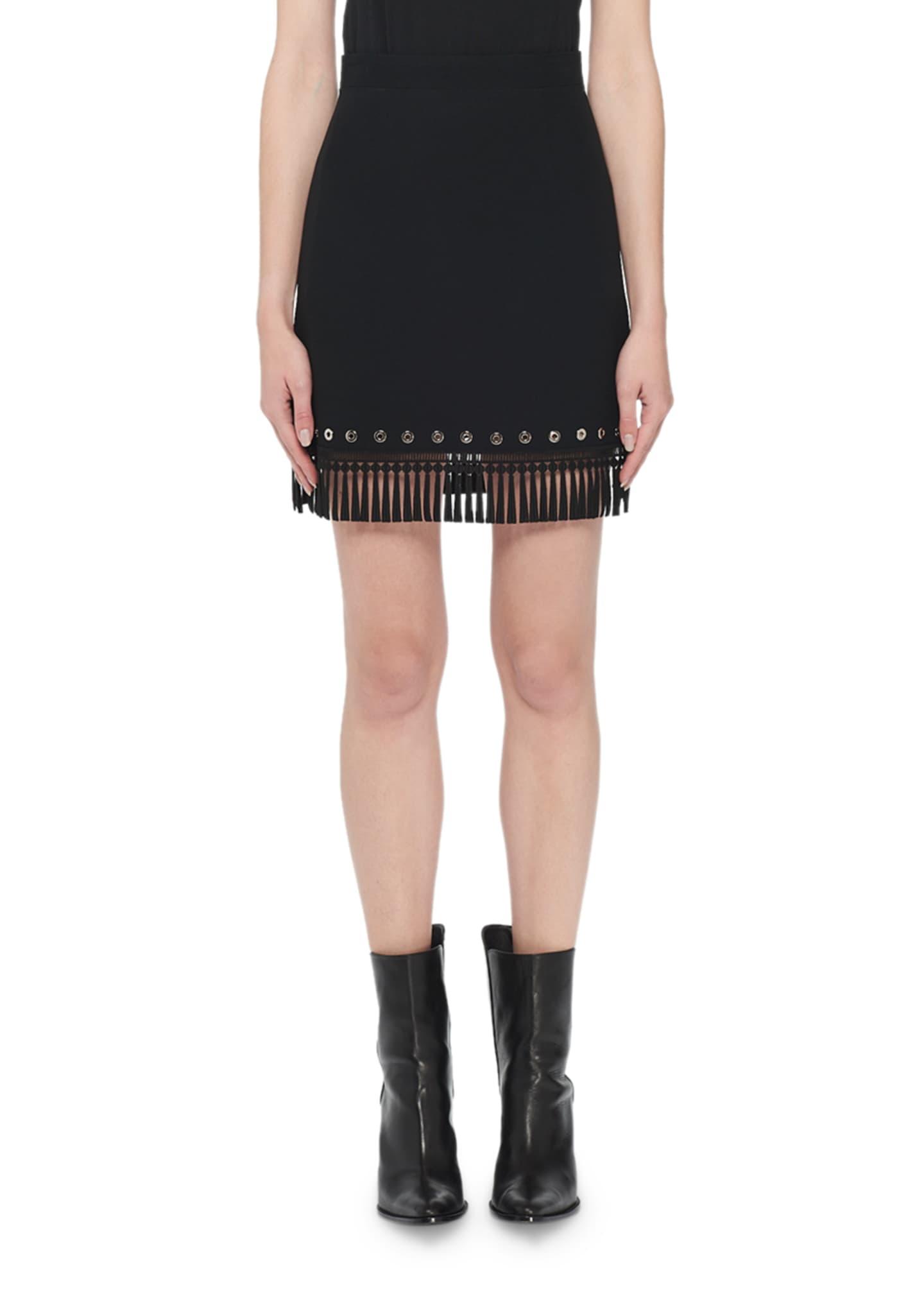 Andrew Gn A-Line Fringe & Grommet Skirt