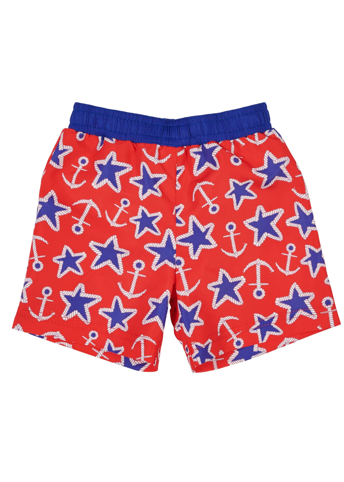 Florence Eiseman Anchor Star-Print Swim Trunks, Size 6-24