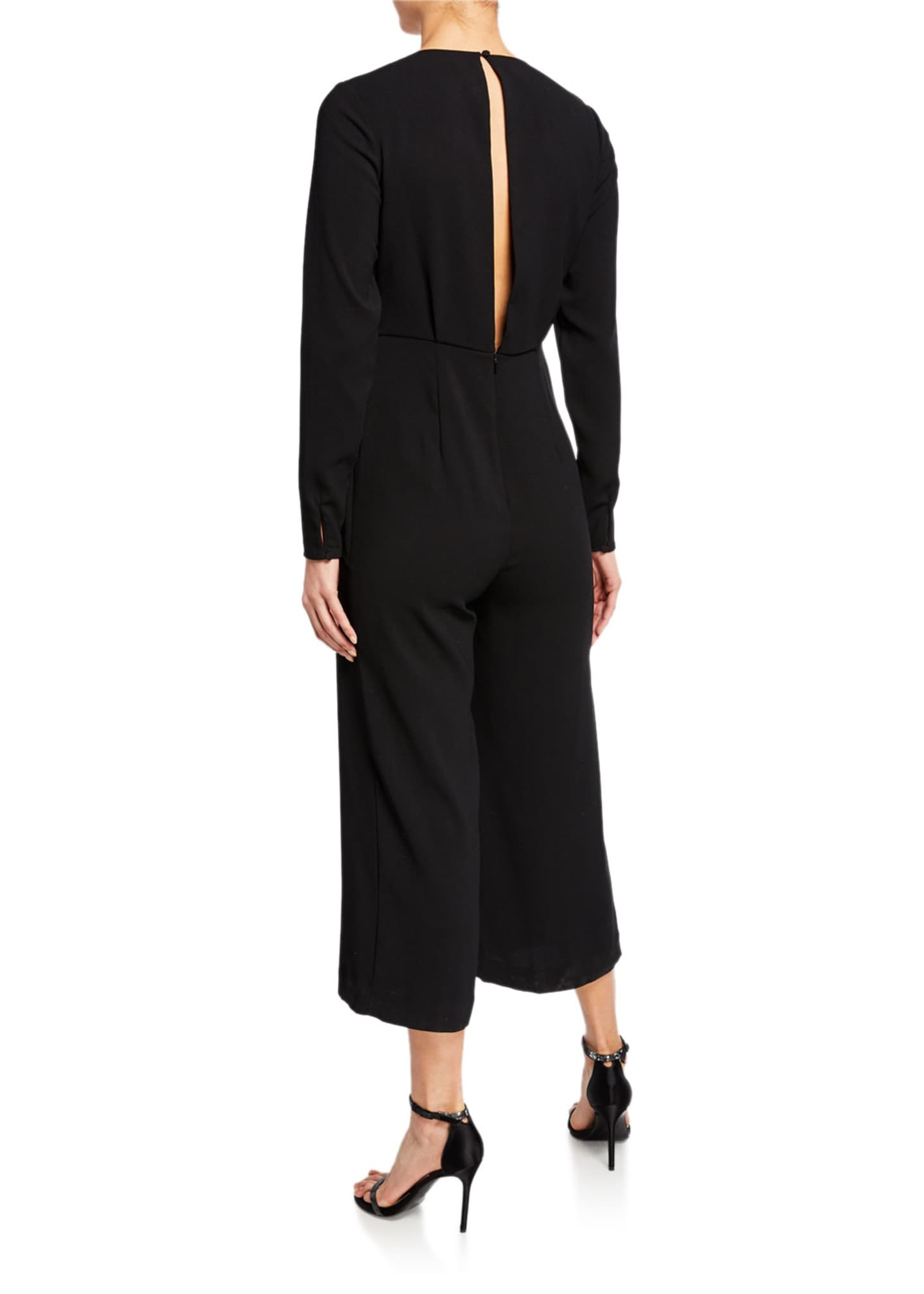 Image 2 of 2: V-Neck Long-Sleeve Twist-Front Cropped Jumpsuit
