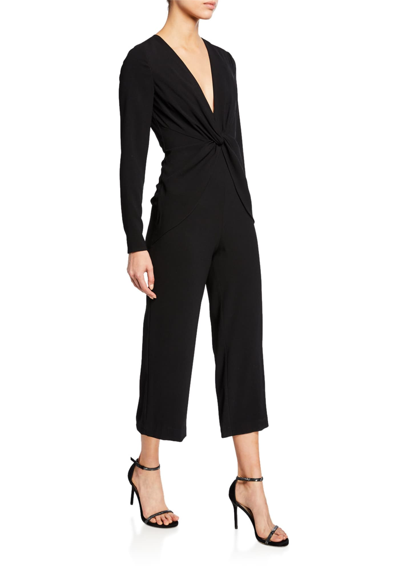 Image 1 of 2: V-Neck Long-Sleeve Twist-Front Cropped Jumpsuit