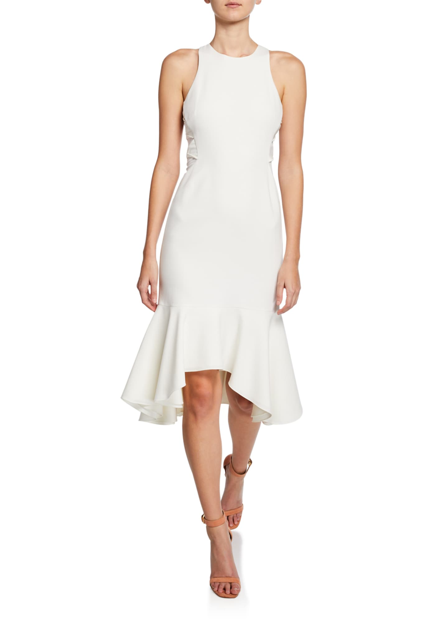 Halston Sleeveless Flounce-Hem Dress with Twist Detail