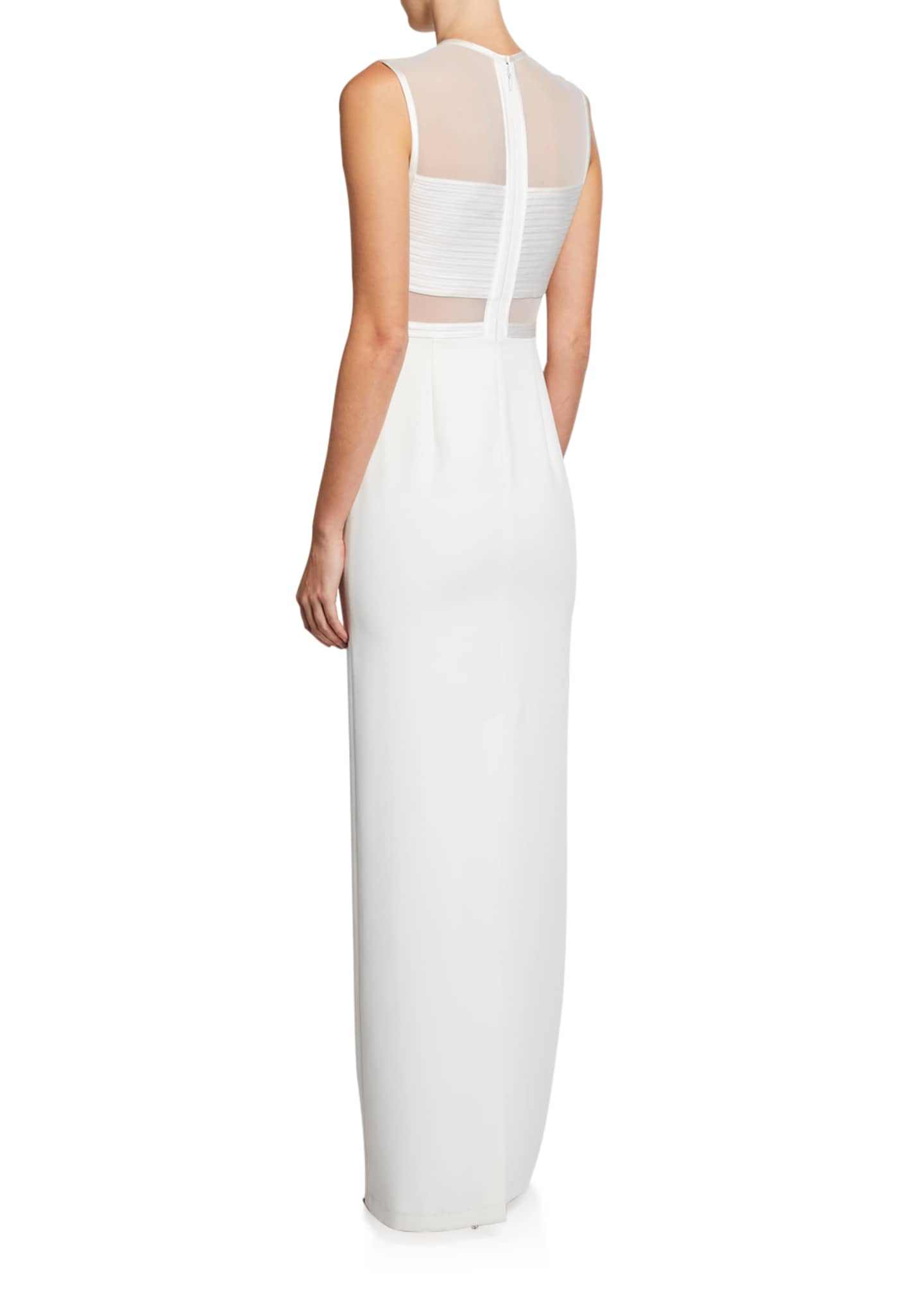 Image 2 of 2: Sleeveless High-Neck Gown with Strip Detail