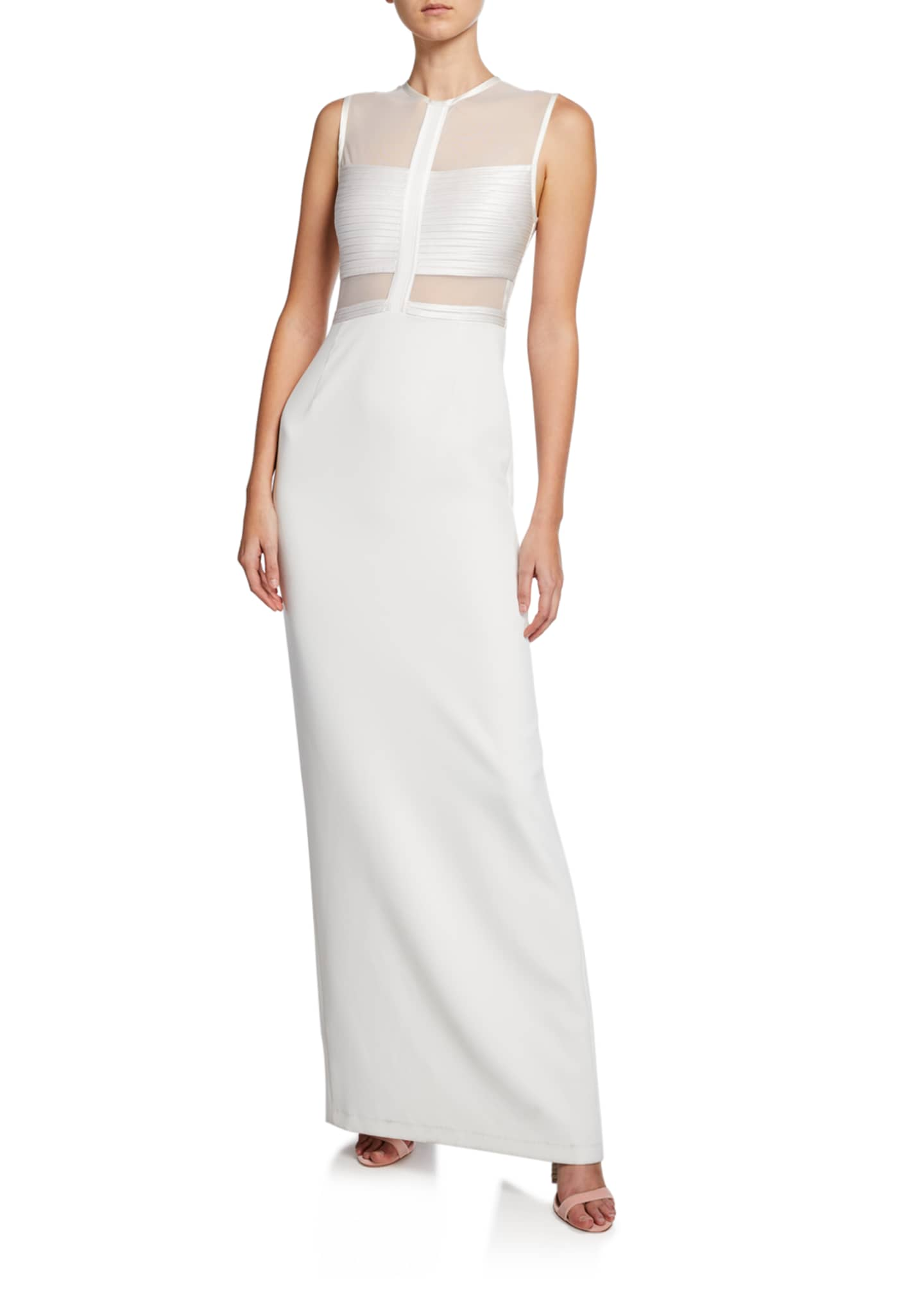 Halston Sleeveless High-Neck Gown with Strip Detail