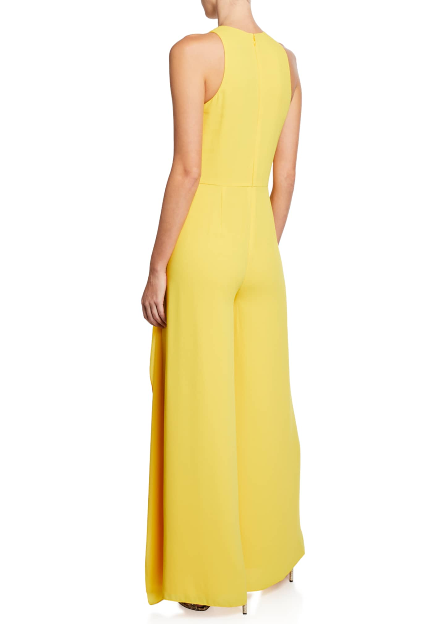 Image 2 of 2: Sleeveless High-Neck Flowy Drape Front Wide-Leg Jumpsuit