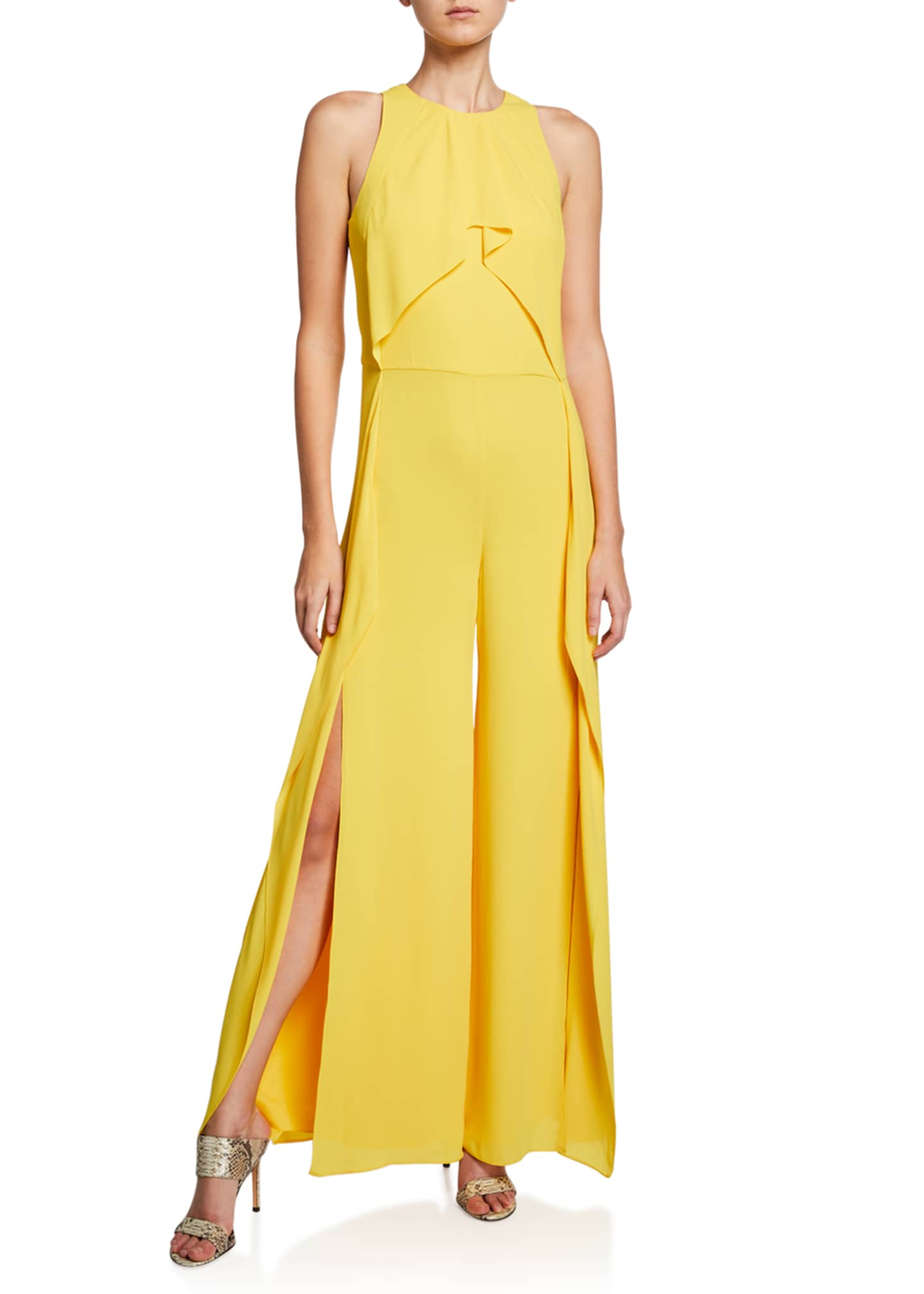 Image 1 of 2: Sleeveless High-Neck Flowy Drape Front Wide-Leg Jumpsuit