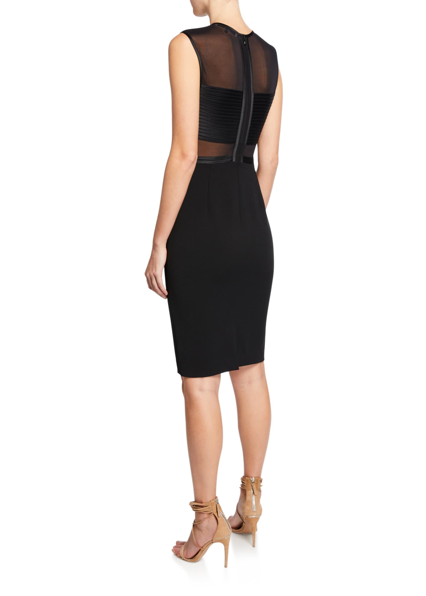 Image 2 of 2: Sleeveless High-Neck Dress with Strip Detail