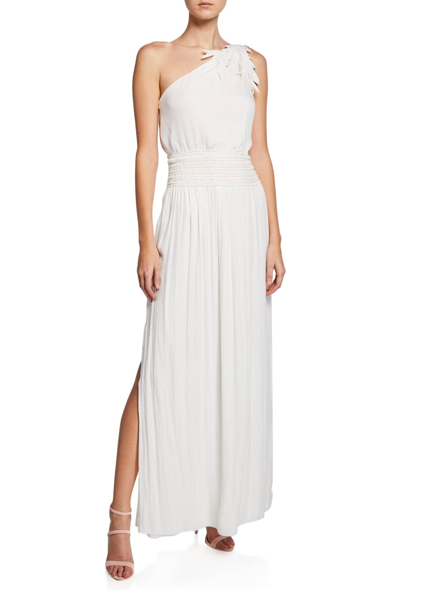 Halston One-Shoulder Smocked-Waist Gown with Floral Applique