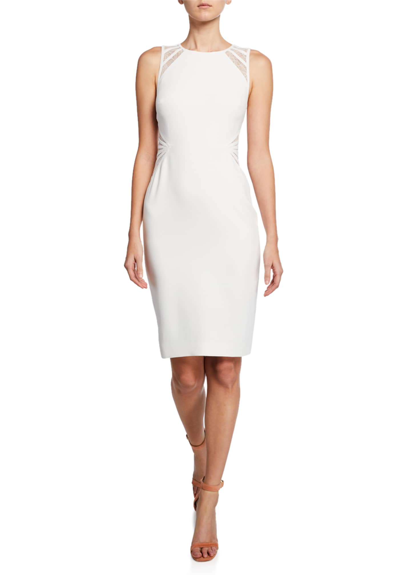 Halston Sleeveless High-Neck Dress with Lace Strip Detail
