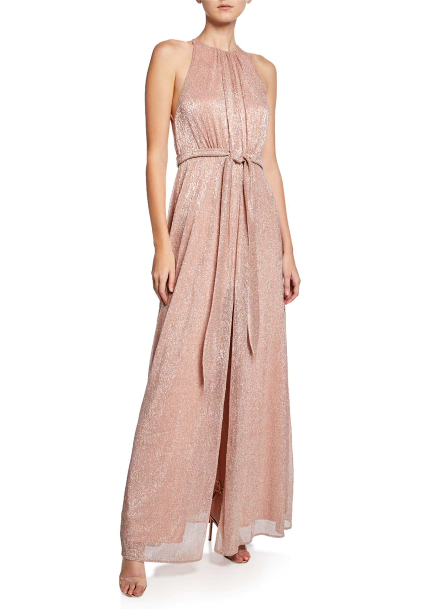 Halston Heritage High-Neck Sleeveless Metallic Knit Gown with
