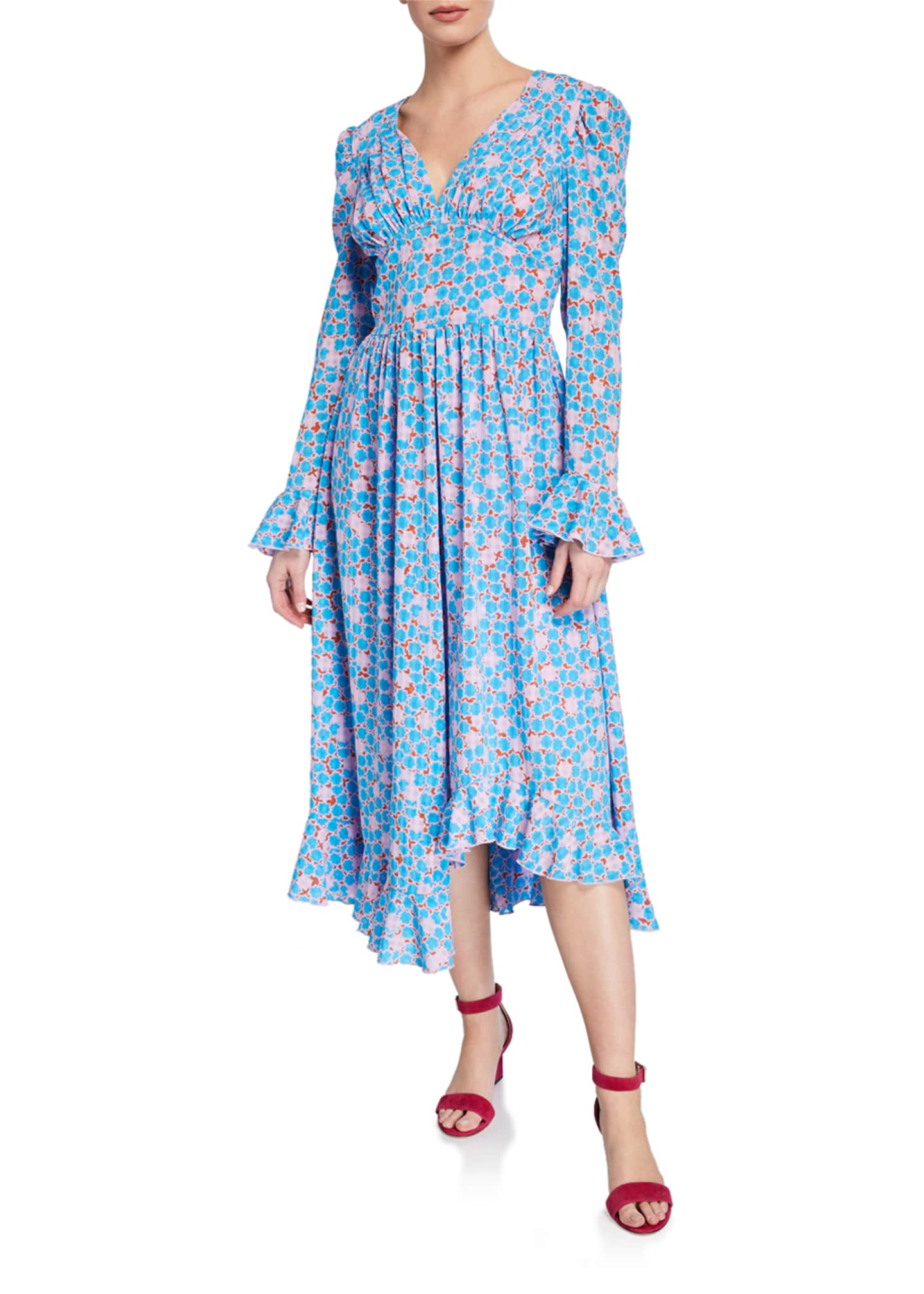 Stine Goya Freesia Printed Asymmetric Midi Dress
