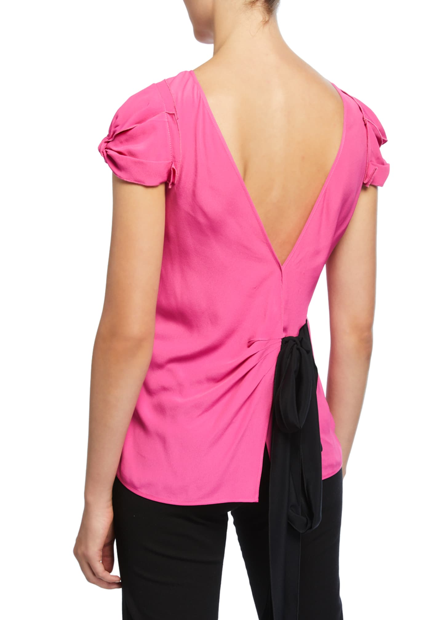 Image 2 of 2: Tie-Back Short-Sleeve Shirt