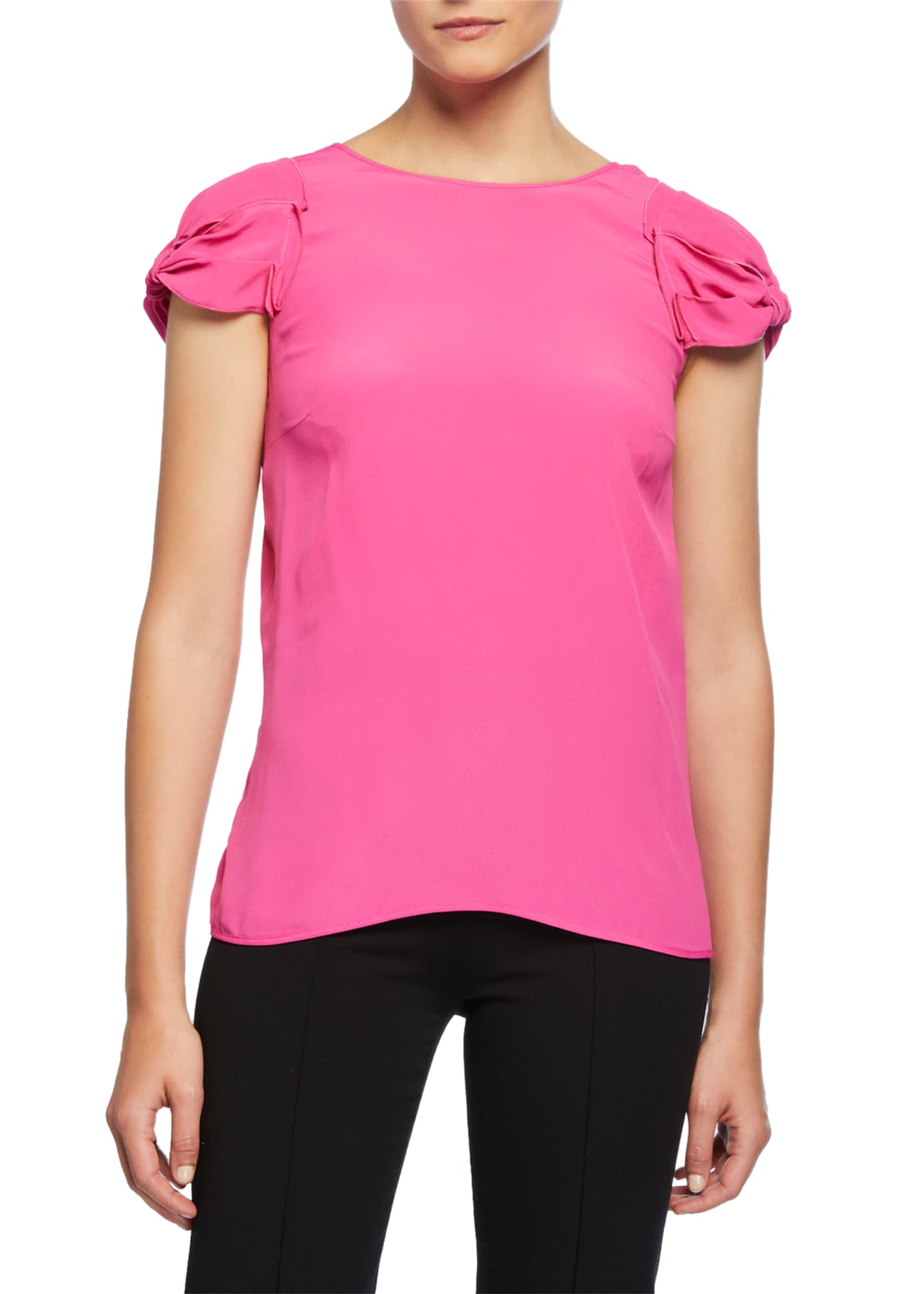 Image 1 of 2: Tie-Back Short-Sleeve Shirt