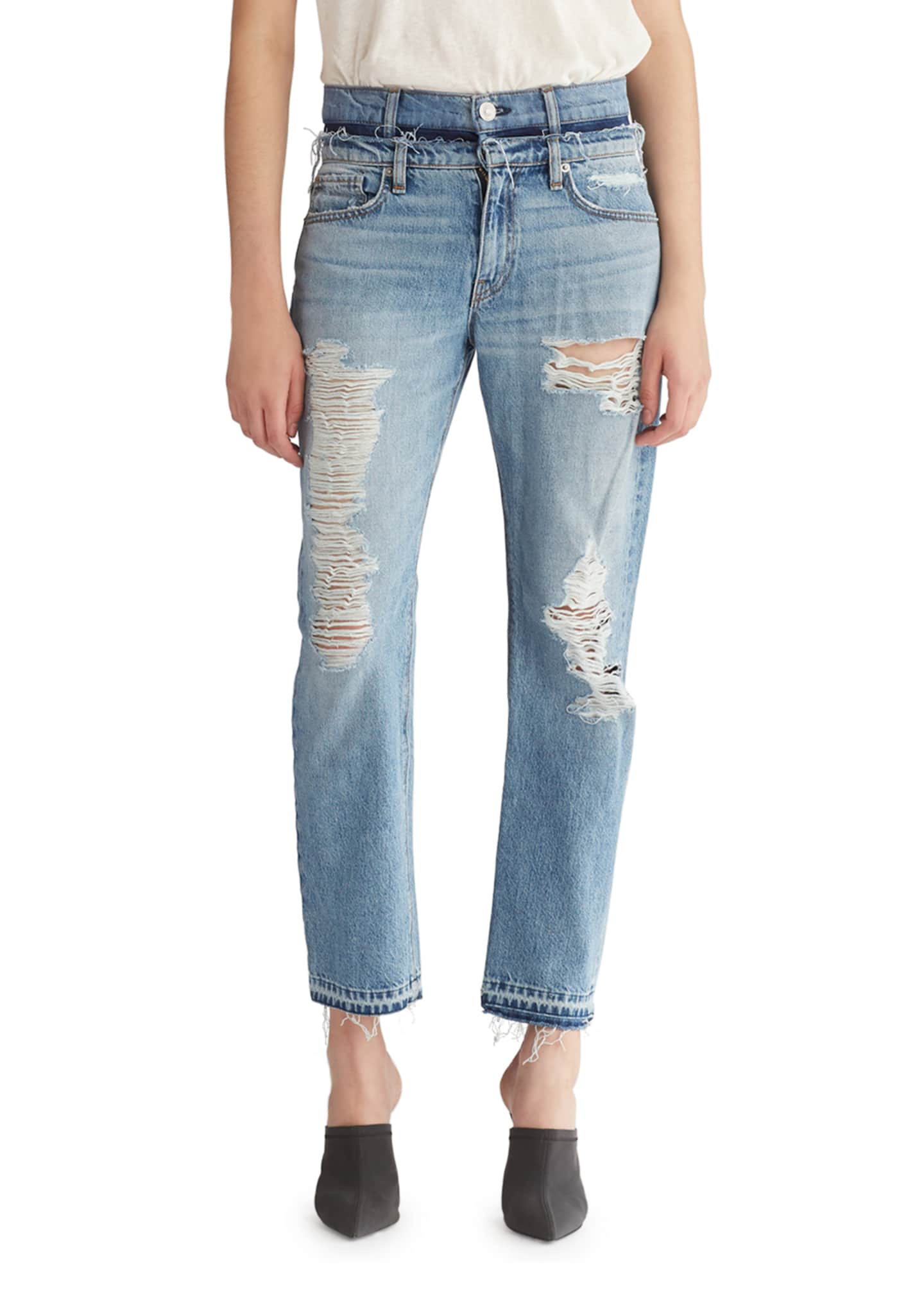 Hudson Jessi Relaxed Cropped Jeans with Destruction