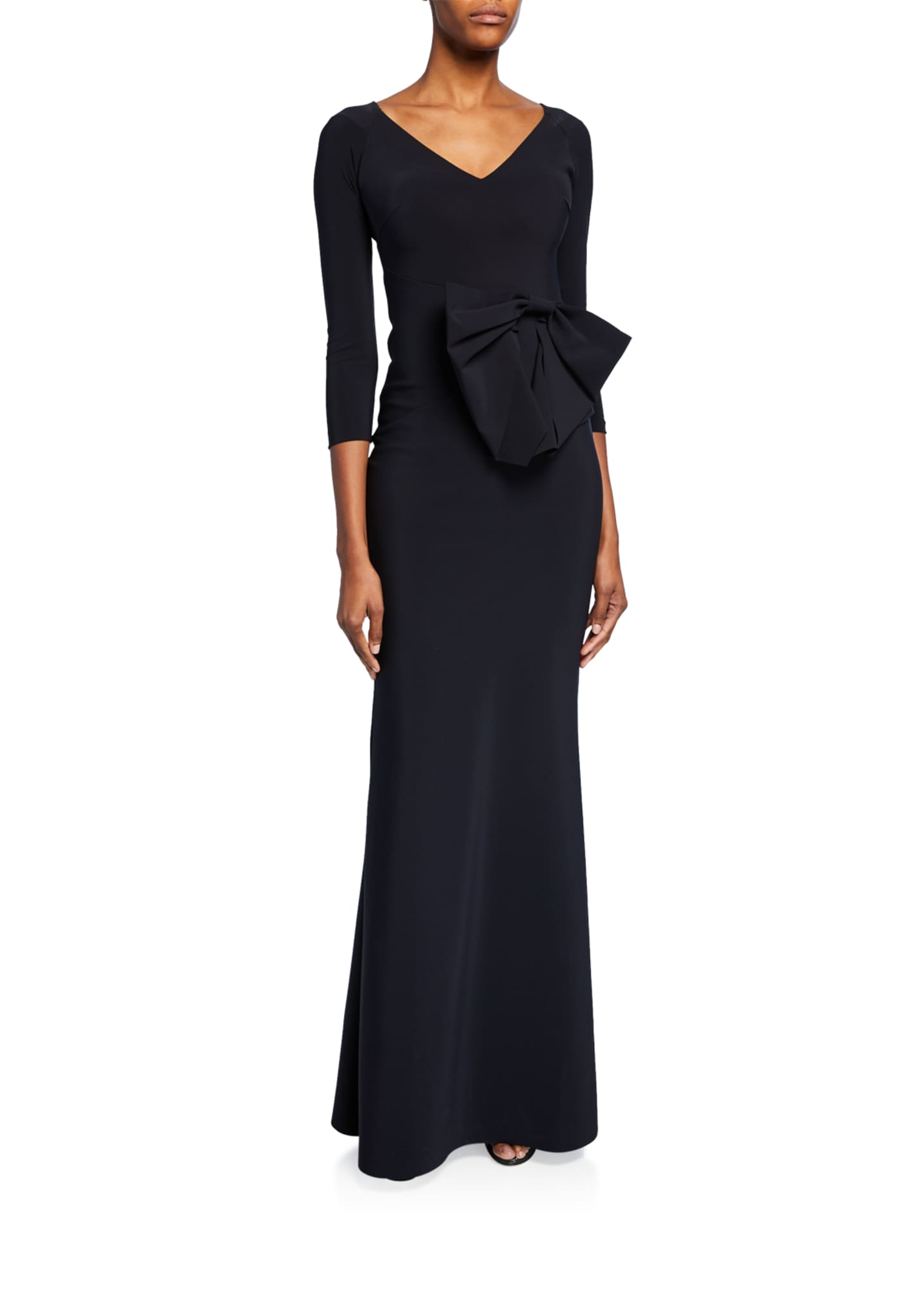 Image 1 of 1: Barbra Lee V-Neck 3/4-Sleeve Gown with Side Bow Detail