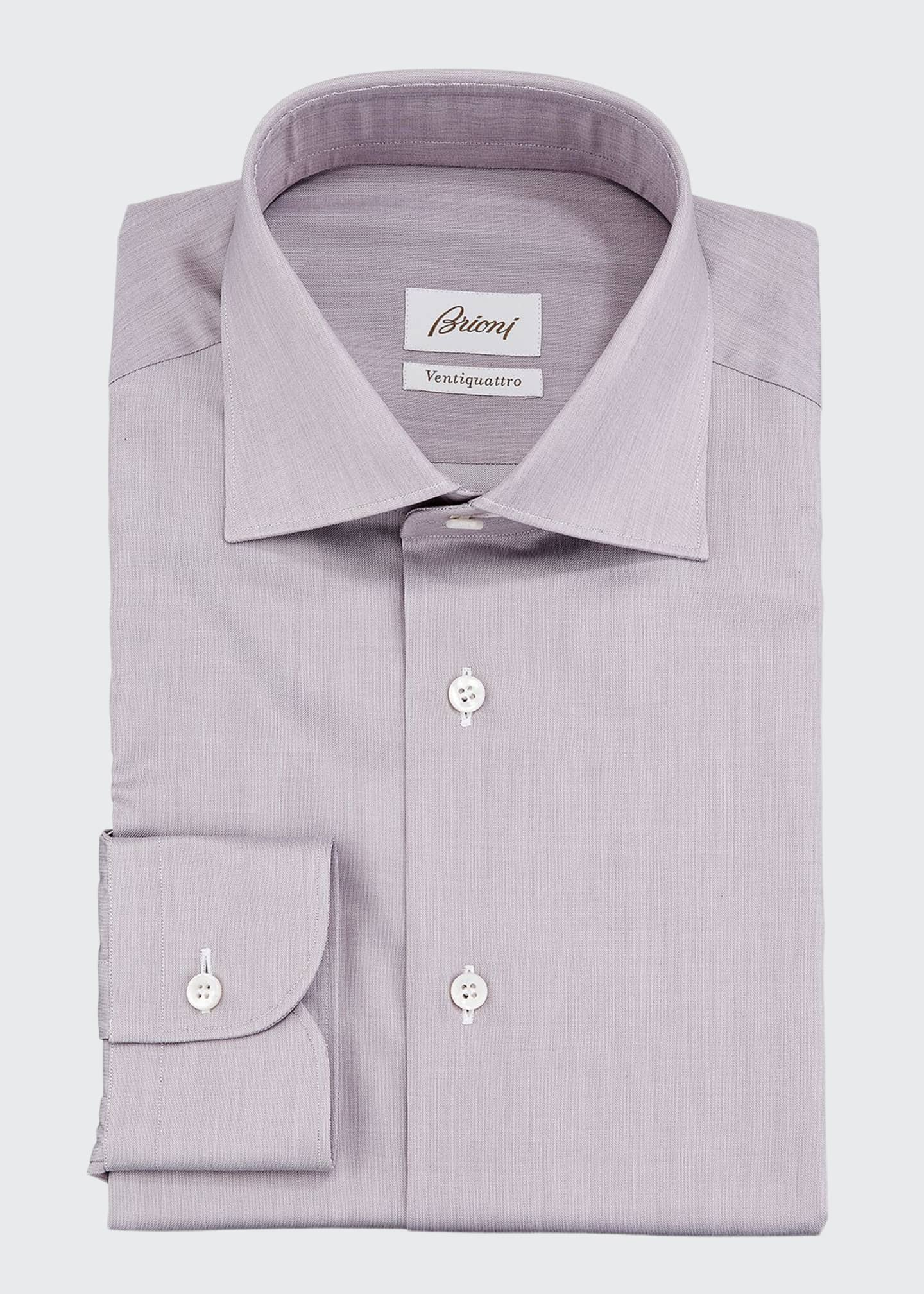 Brioni Ventiquattro Cotton Chambray Dress Shirt