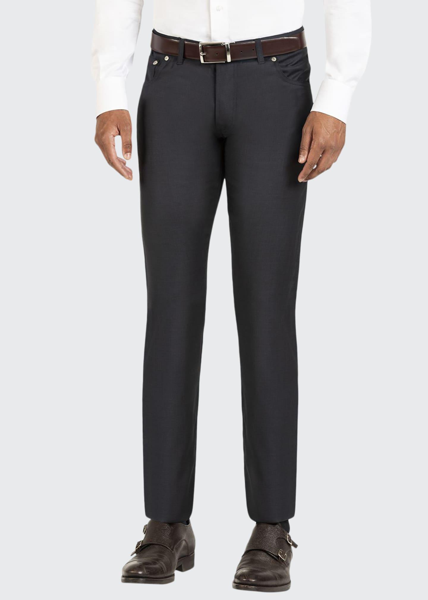 Isaia Men's Micro-Check Straight-Leg 5-Pocket Pants
