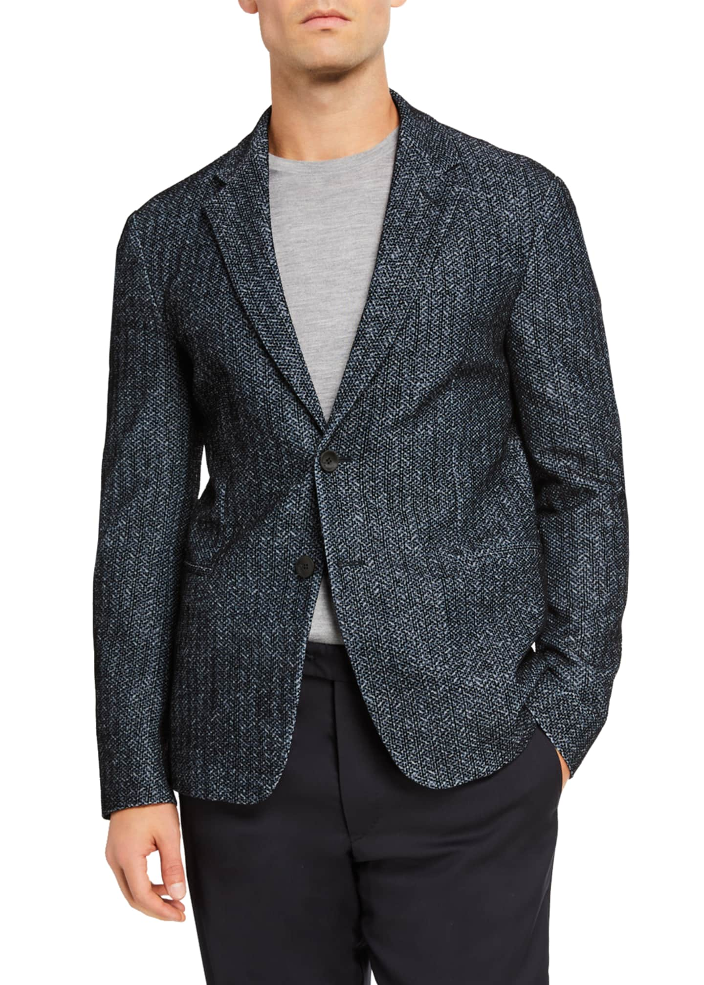 Image 1 of 2: Men's Printed and Flocked Two-Button Jacket