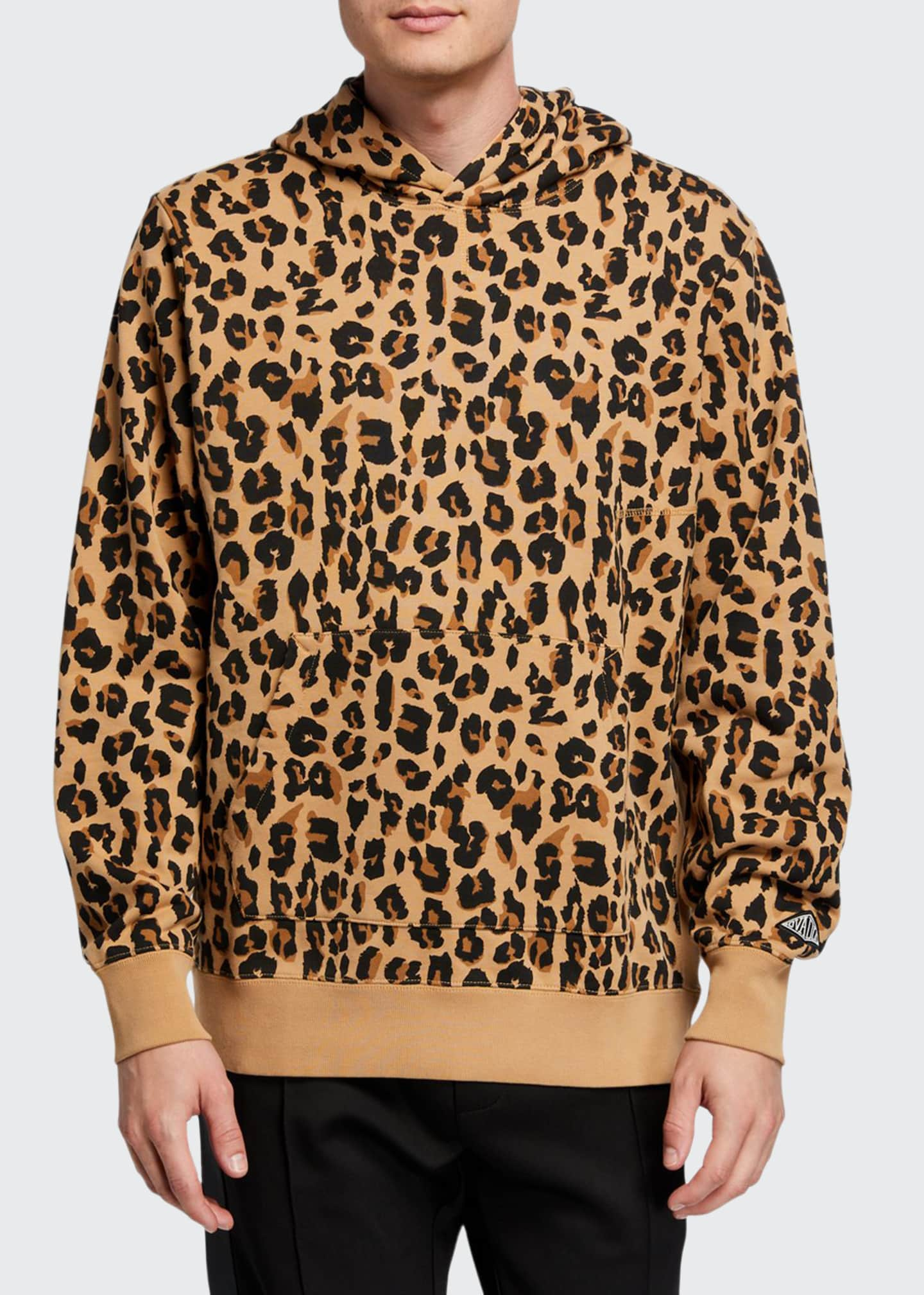 Ovadia & Sons Men's Snow-Wash Leopard-Print Pullover Hoodie