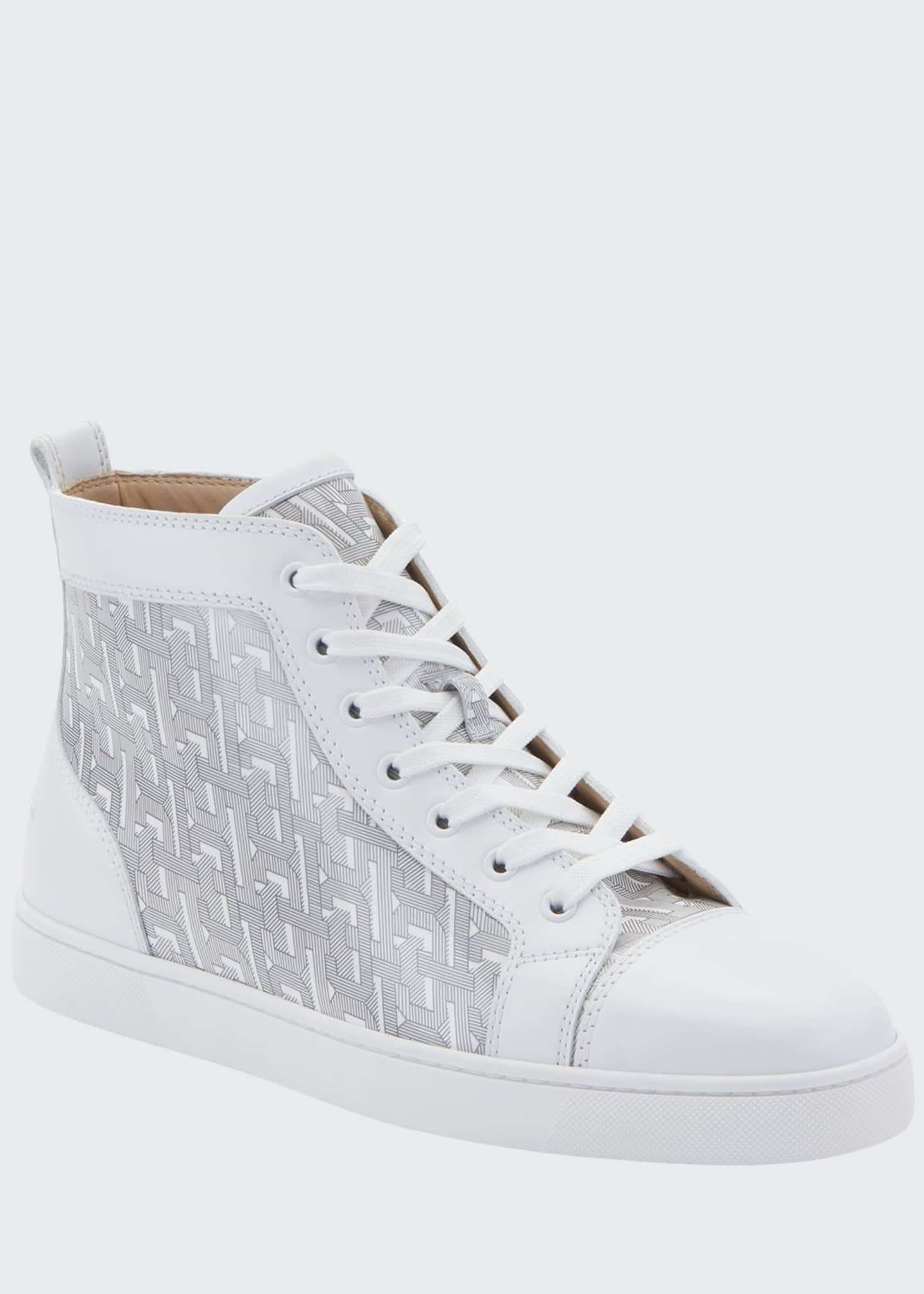Christian Louboutin Men's Louis Graphic-Print Mid-Top Sneakers