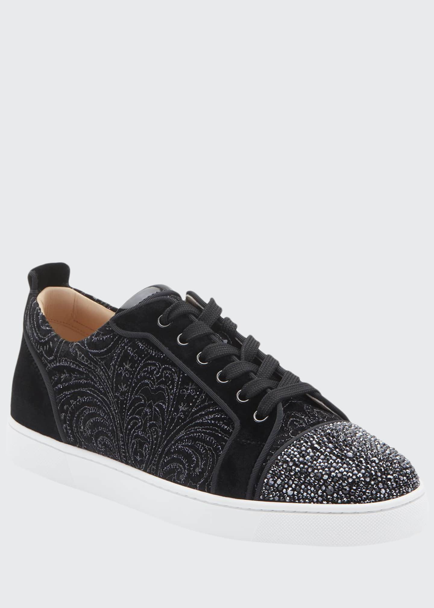 Christian Louboutin Men's Louis Junior Jeweled-Velour Low-Top
