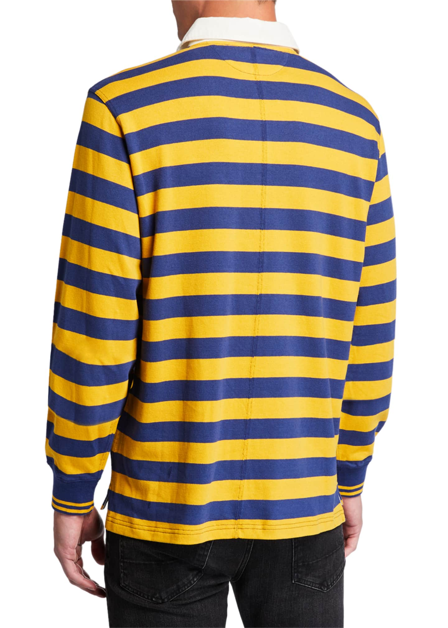 Image 2 of 2: Men's Monogram Rugby Striped Long-Sleeve Polo Shirt