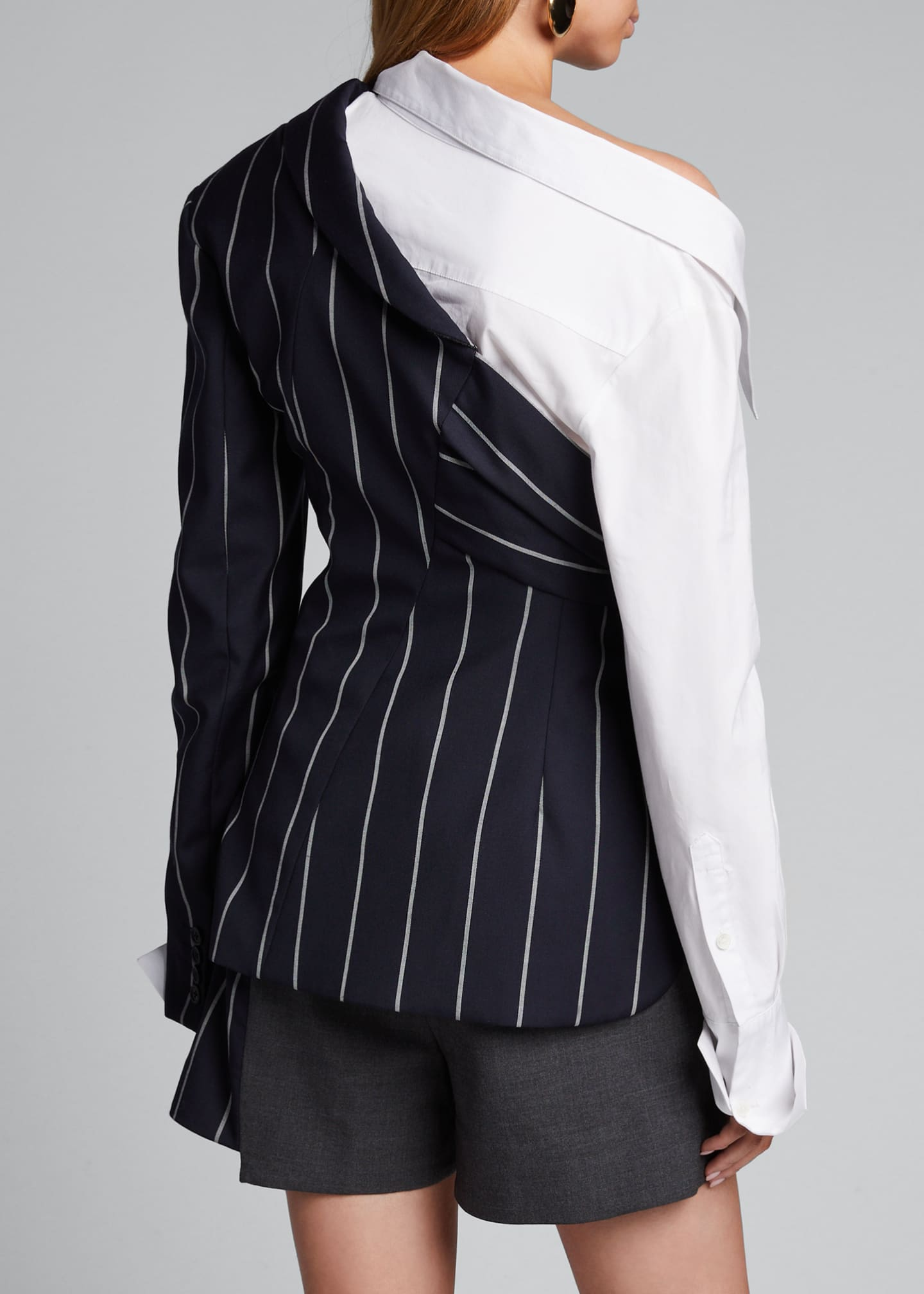 Image 2 of 4: Pinstriped Blazer and Poplin Combo Top