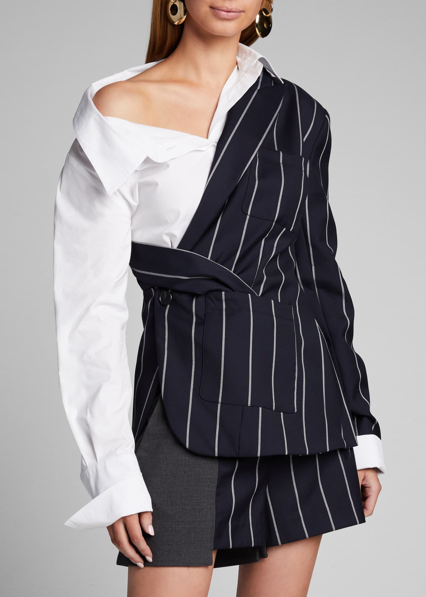 Image 3 of 4: Pinstriped Blazer and Poplin Combo Top