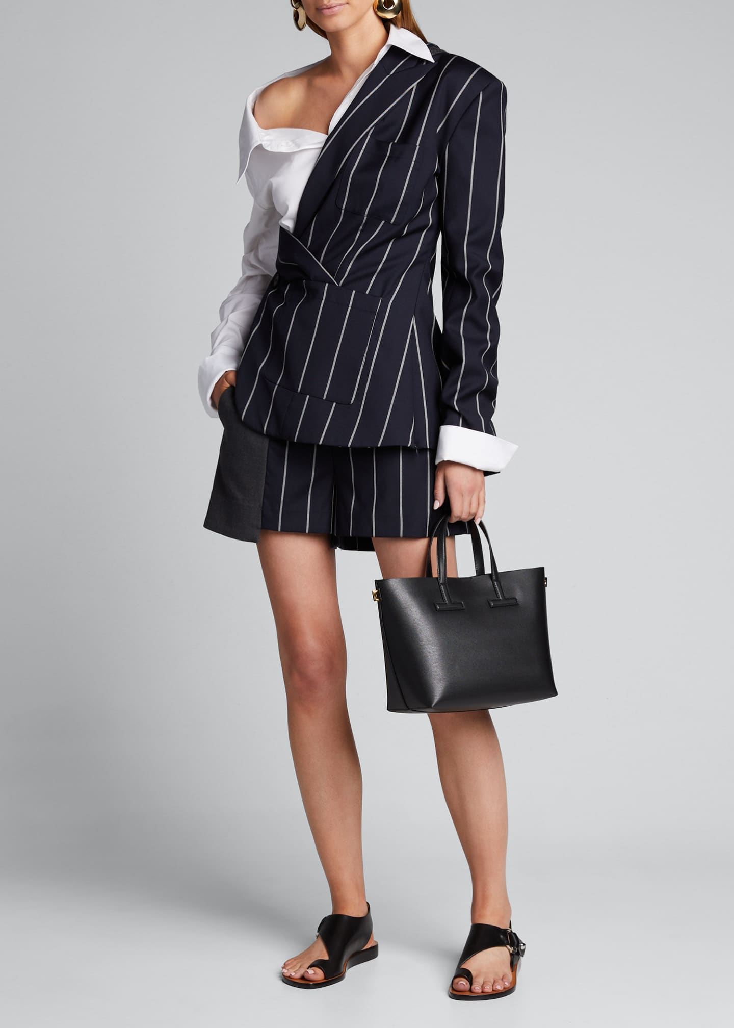 Image 1 of 4: Pinstriped Blazer and Poplin Combo Top