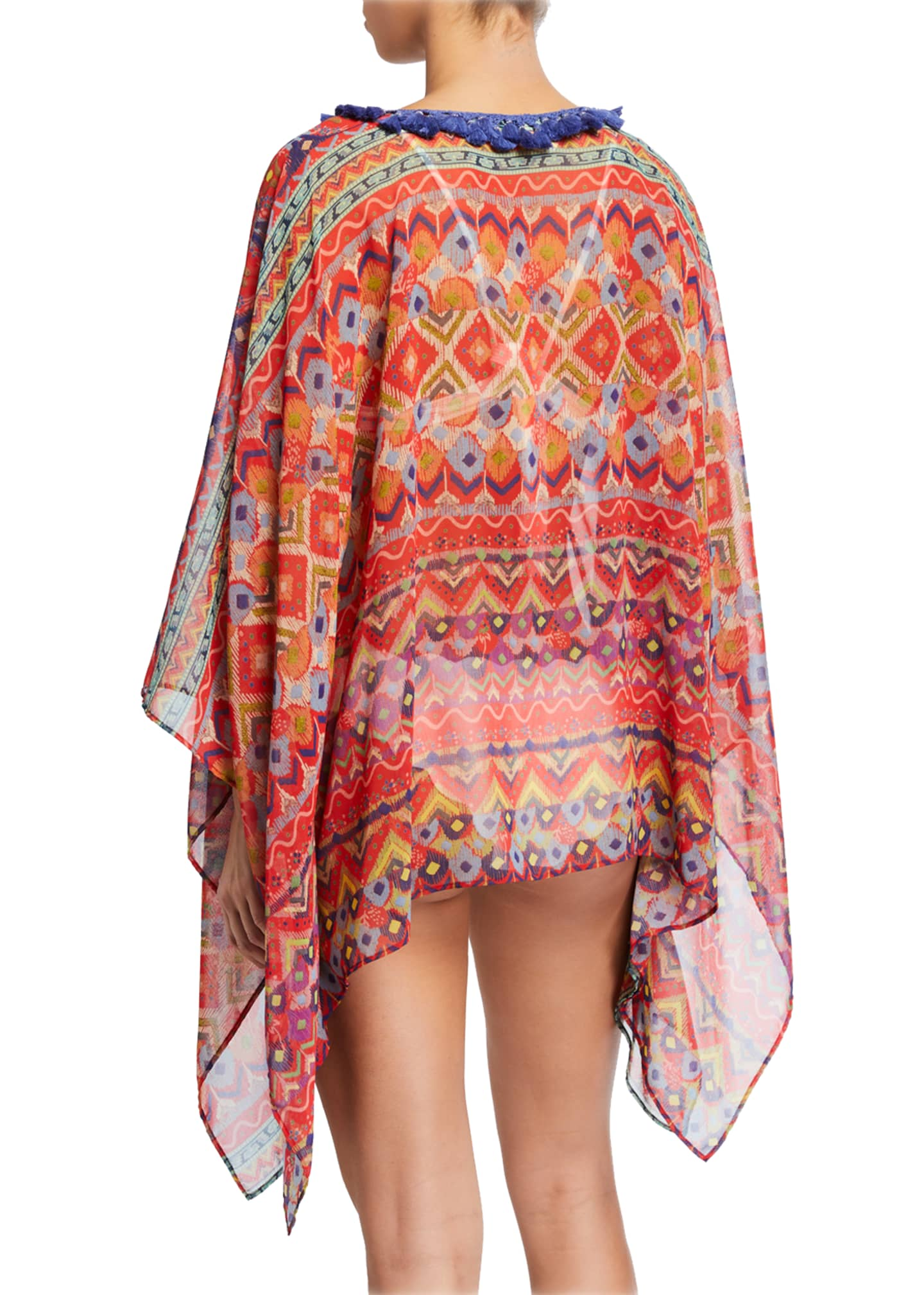 Image 2 of 2: Tassel-Collar Watercolor Printed Coverup Poncho