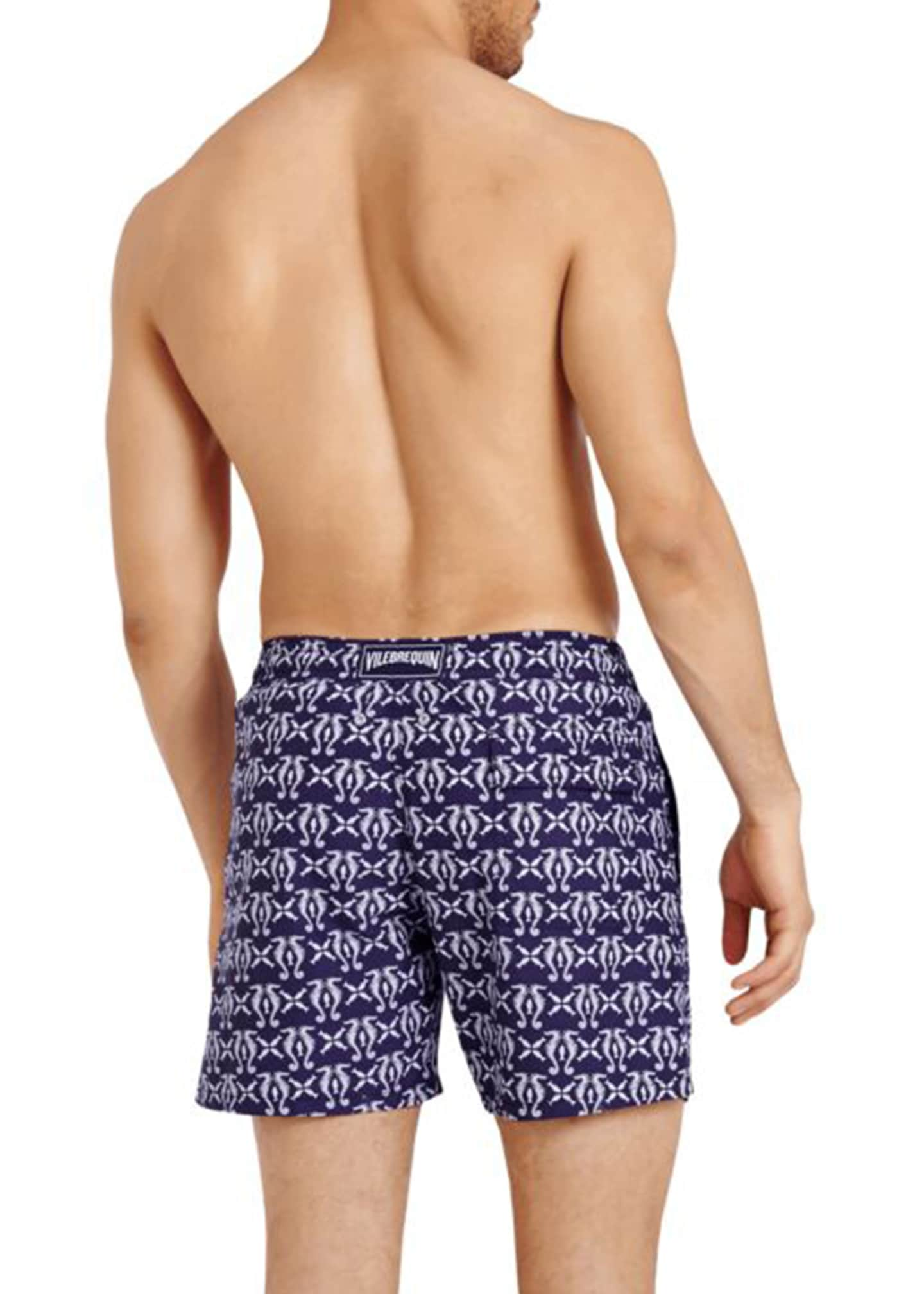 Image 2 of 2: Men's Seahorse-Print Swim Trunks
