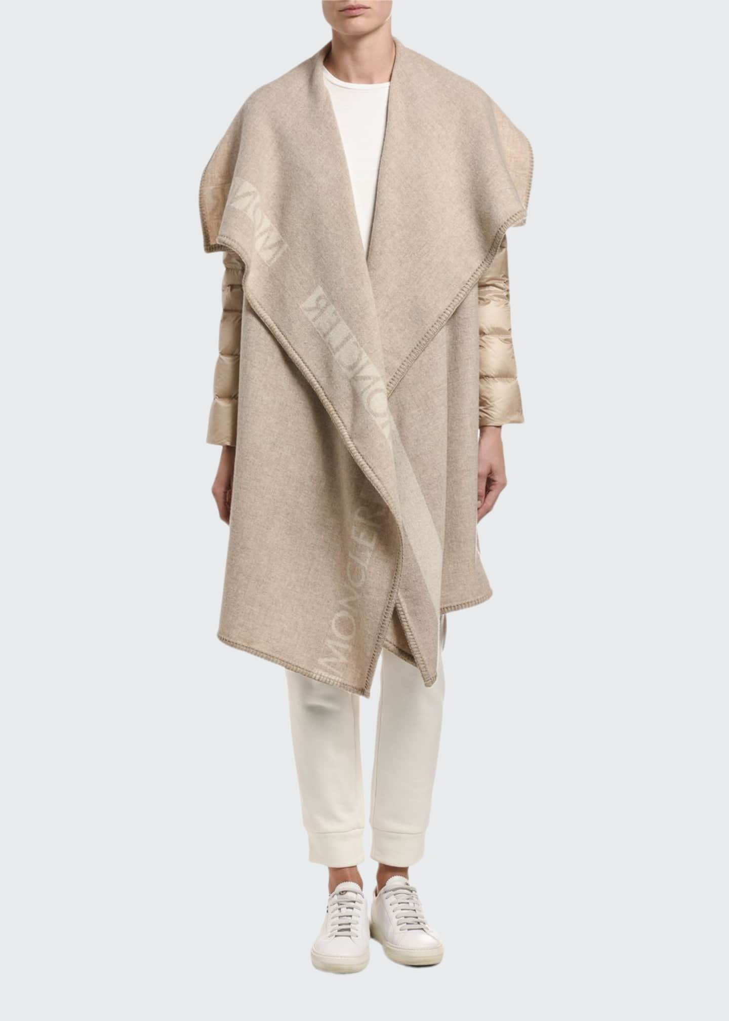 Moncler Mantella Relaxed Puffer-Sleeve Wool Coat