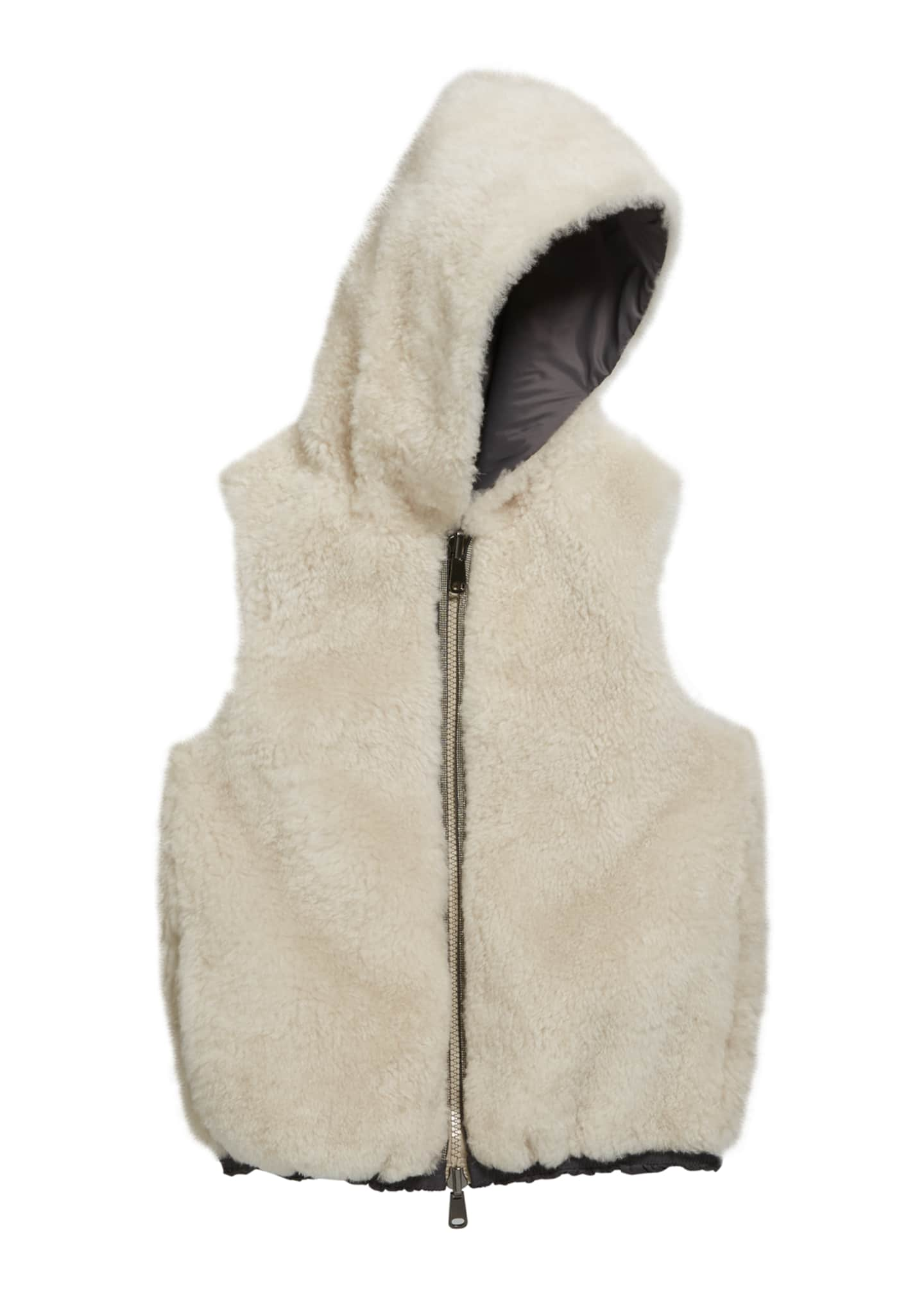 Brunello Cucinelli Girl's Reversible Nylon Fur Hooded Vest,