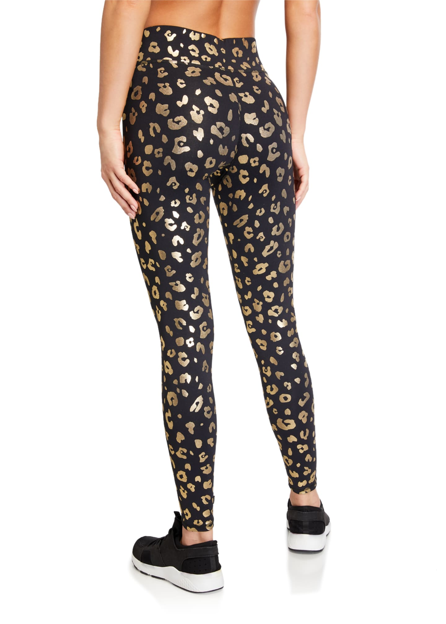Image 2 of 3: Gold Cheetah Foil Printed Tall Band Leggings