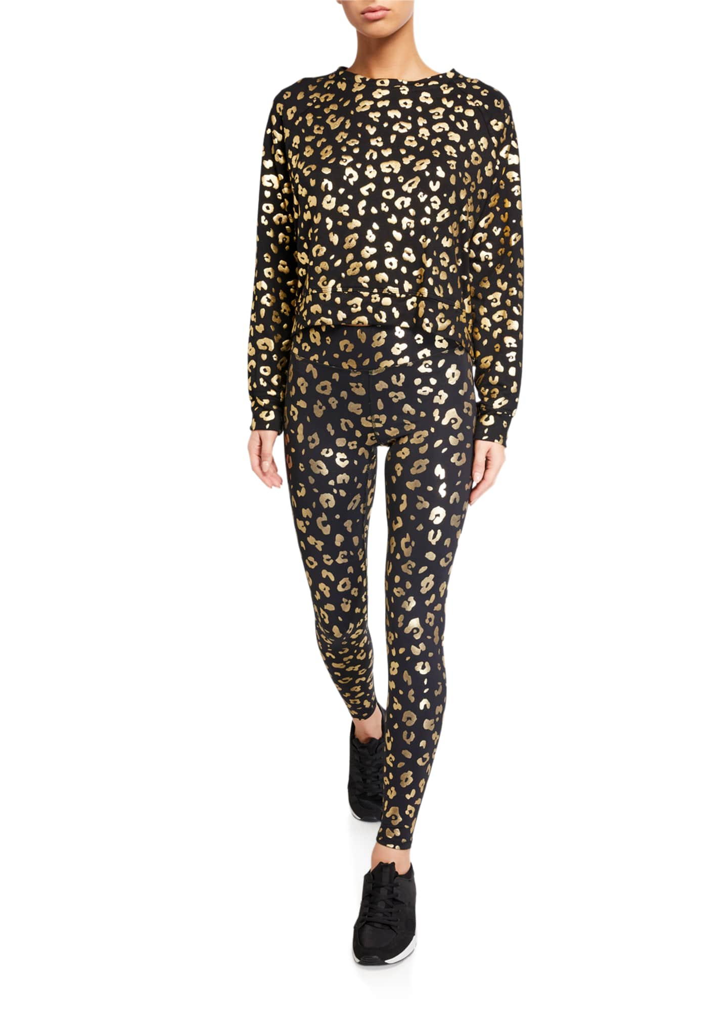 Image 3 of 3: Gold Cheetah Foil Printed Tall Band Leggings
