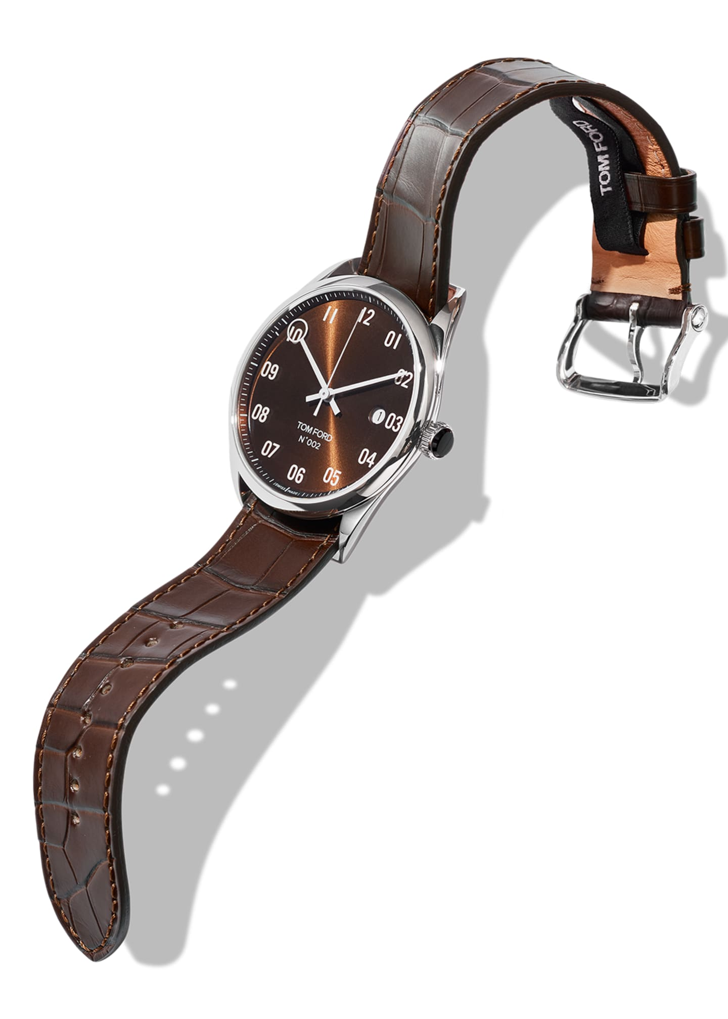 Image 2 of 3: N.002 40mm Round Alligator Leather Watch