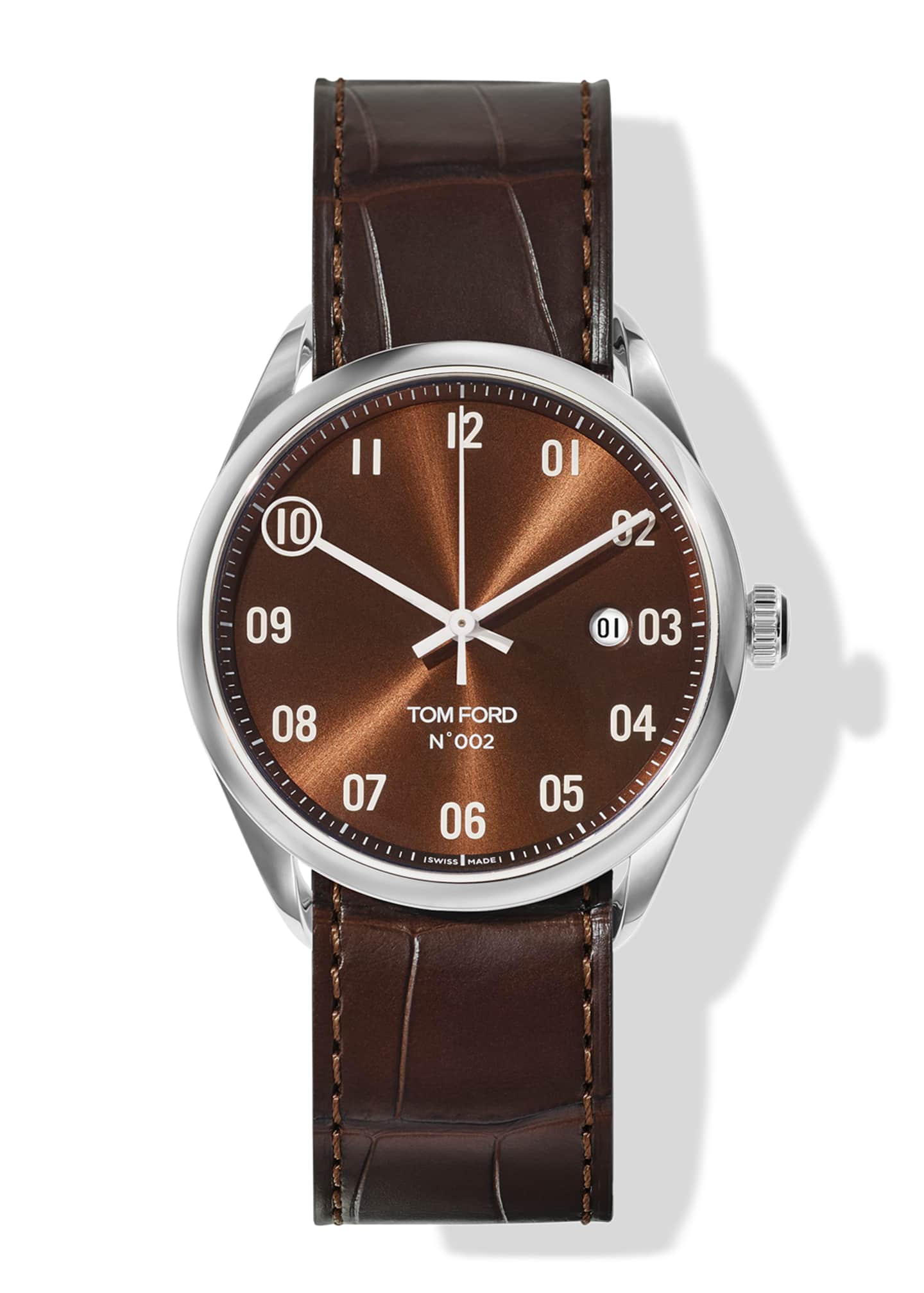 Image 1 of 3: N.002 40mm Round Alligator Leather Watch
