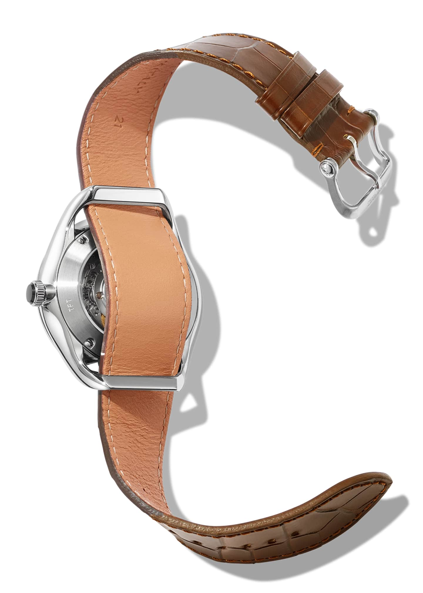Image 3 of 3: N.002 40mm Round Alligator Leather Watch