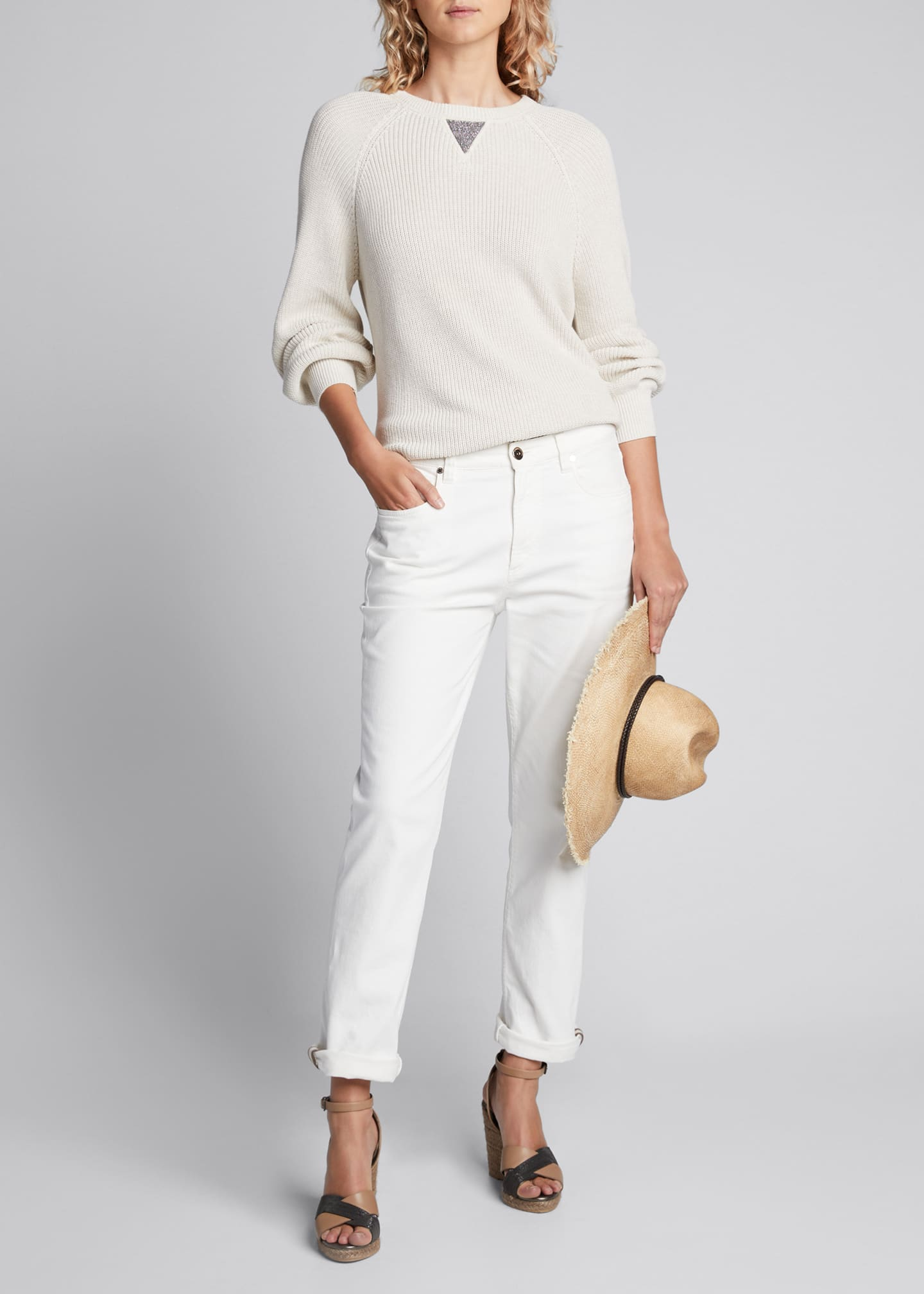 Brunello Cucinelli Crewneck Cotton Rib Long-Sleeve Sweater w/