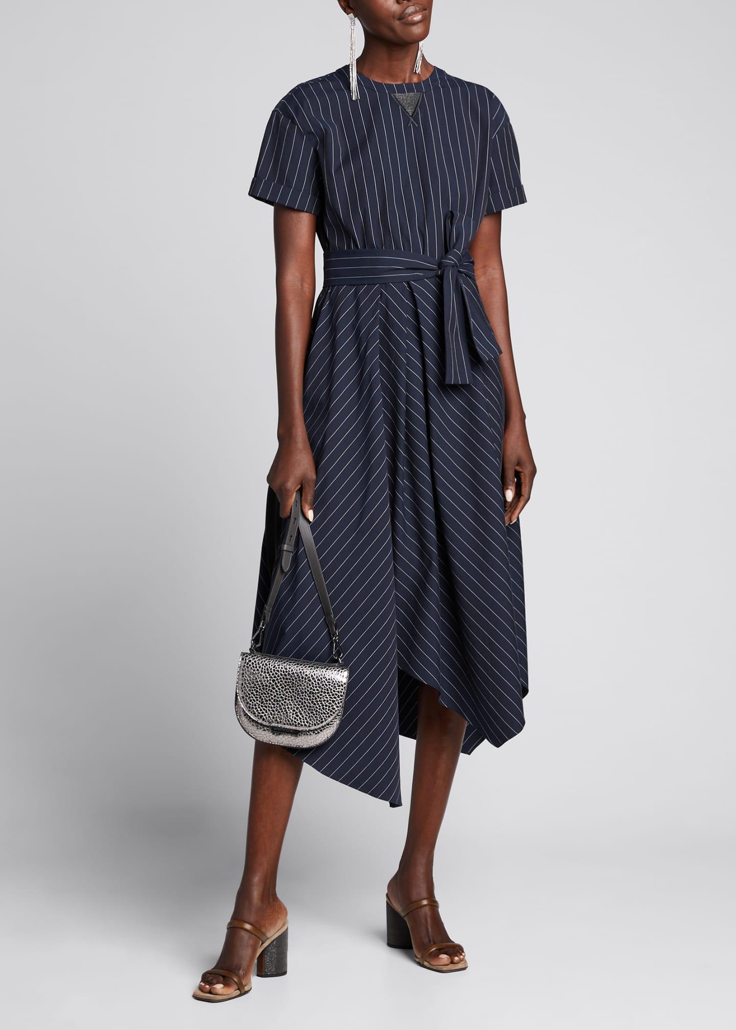 Brunello Cucinelli Striped Cotton-Poplin Shirt-Sleeve Dress