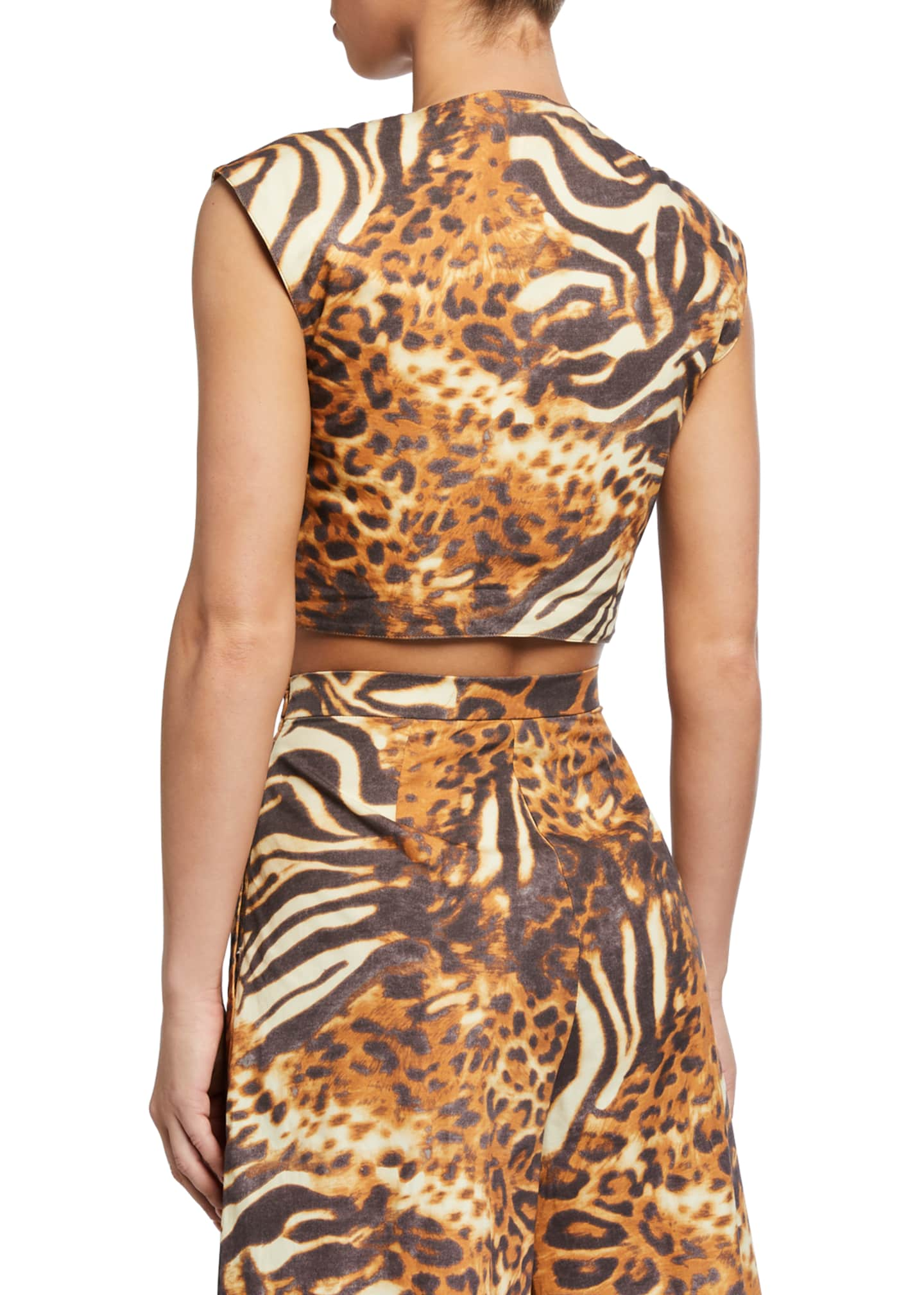 Image 2 of 2: Marcy Animal-Print Coverup Crop Top