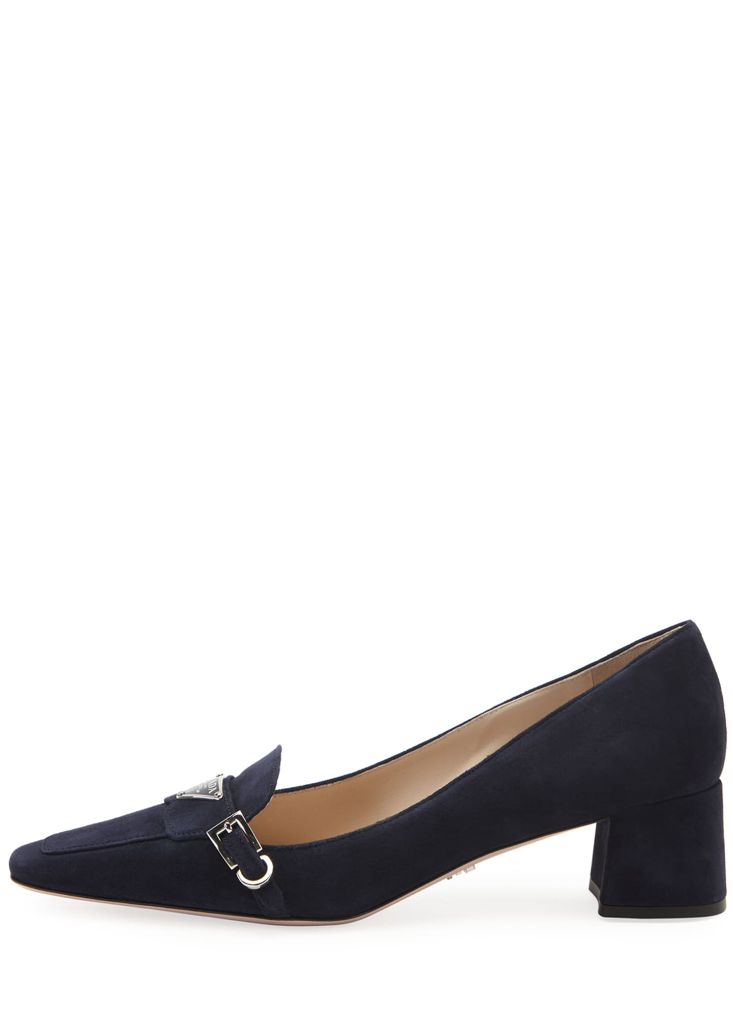 Image 2 of 2: Suede Logo Loafer Pumps