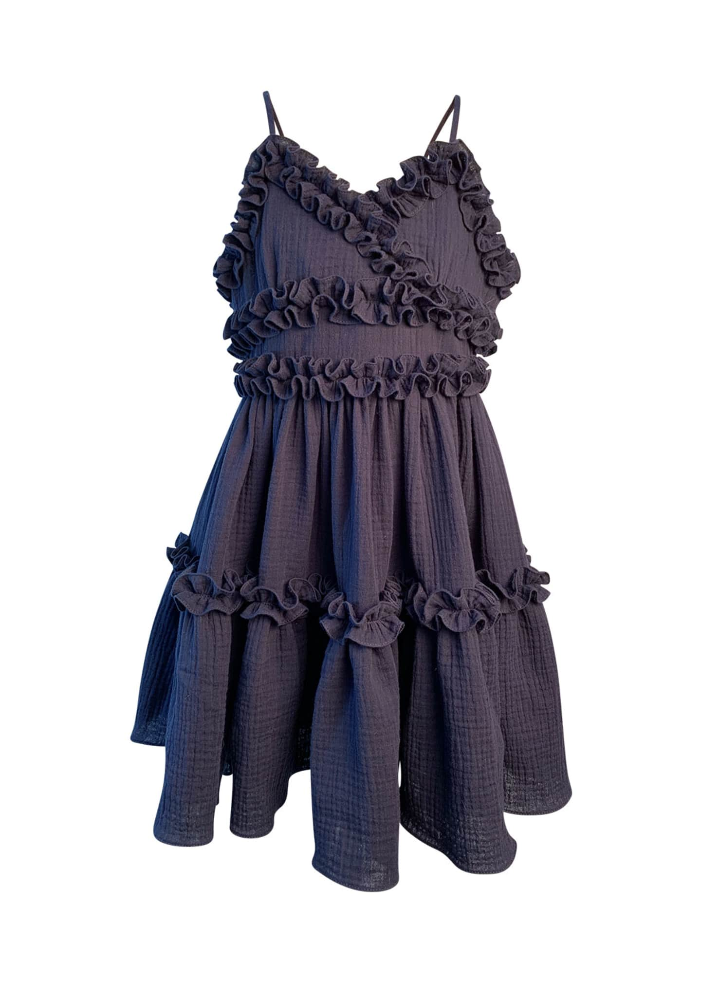 Helena Girl's Laundered Ruffle Trim Sun Dress, Size
