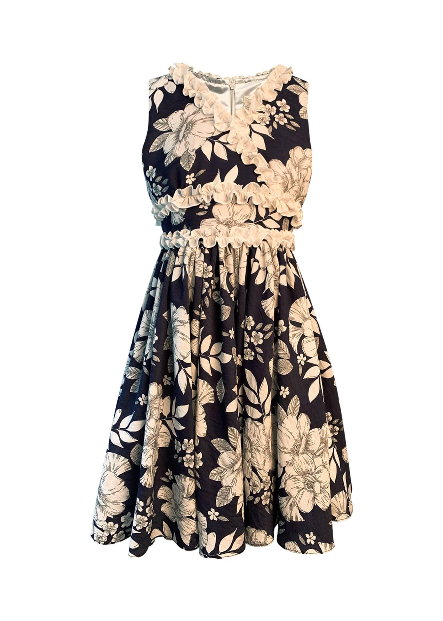 Helena Girl's Floral-Print Dress w/ Ruffle Trim, Size