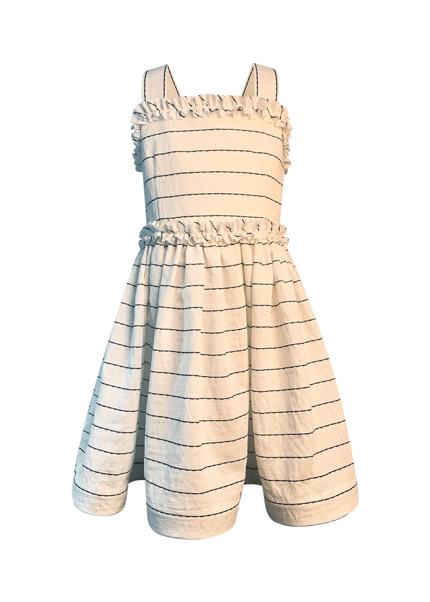 Image 1 of 2: Girl's Wavy Striped Sun Dress, Size 2-6